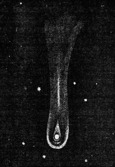 A black and white illustration of Halley's comet.