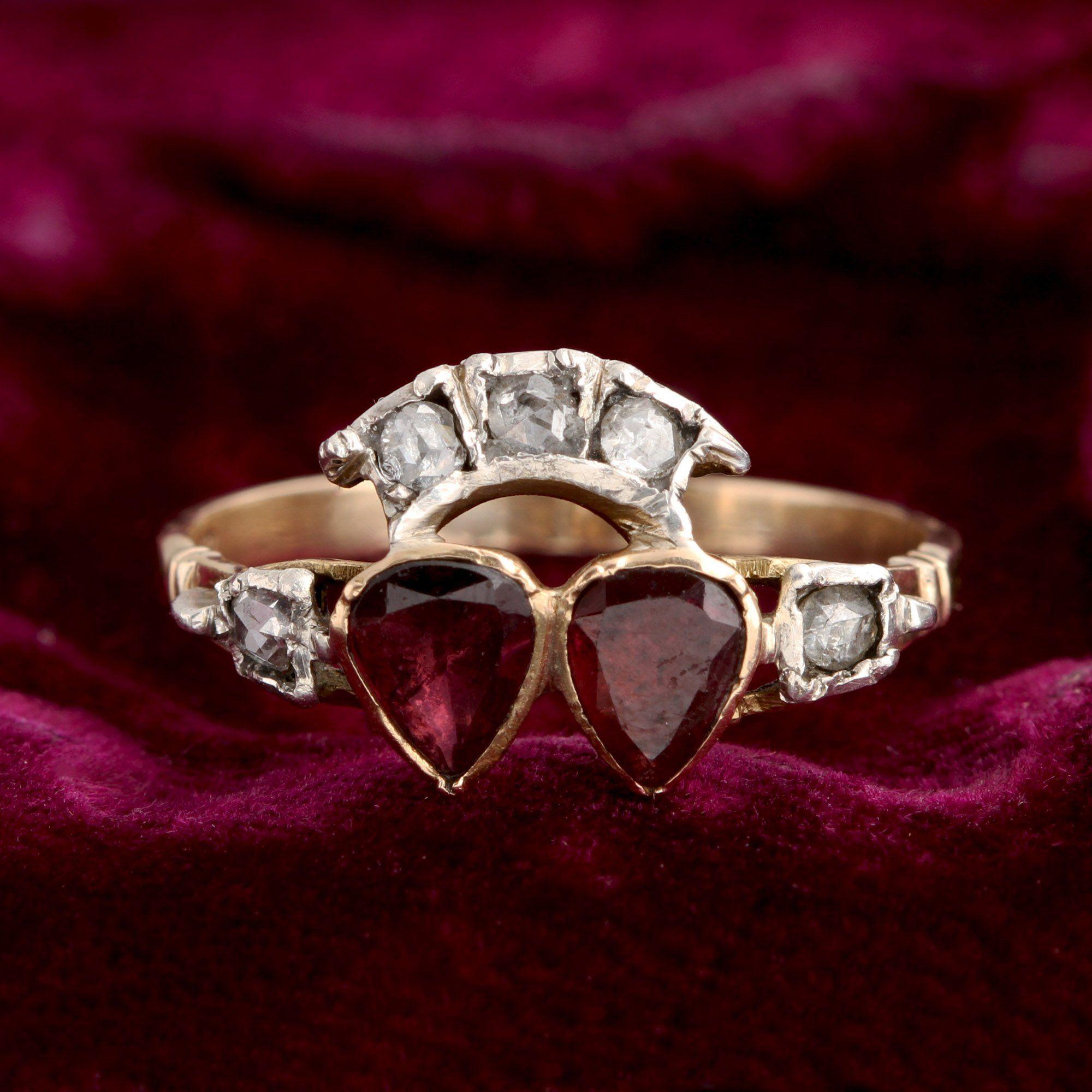 Georgian Garnet & Diamond Twin Hearts Ring
