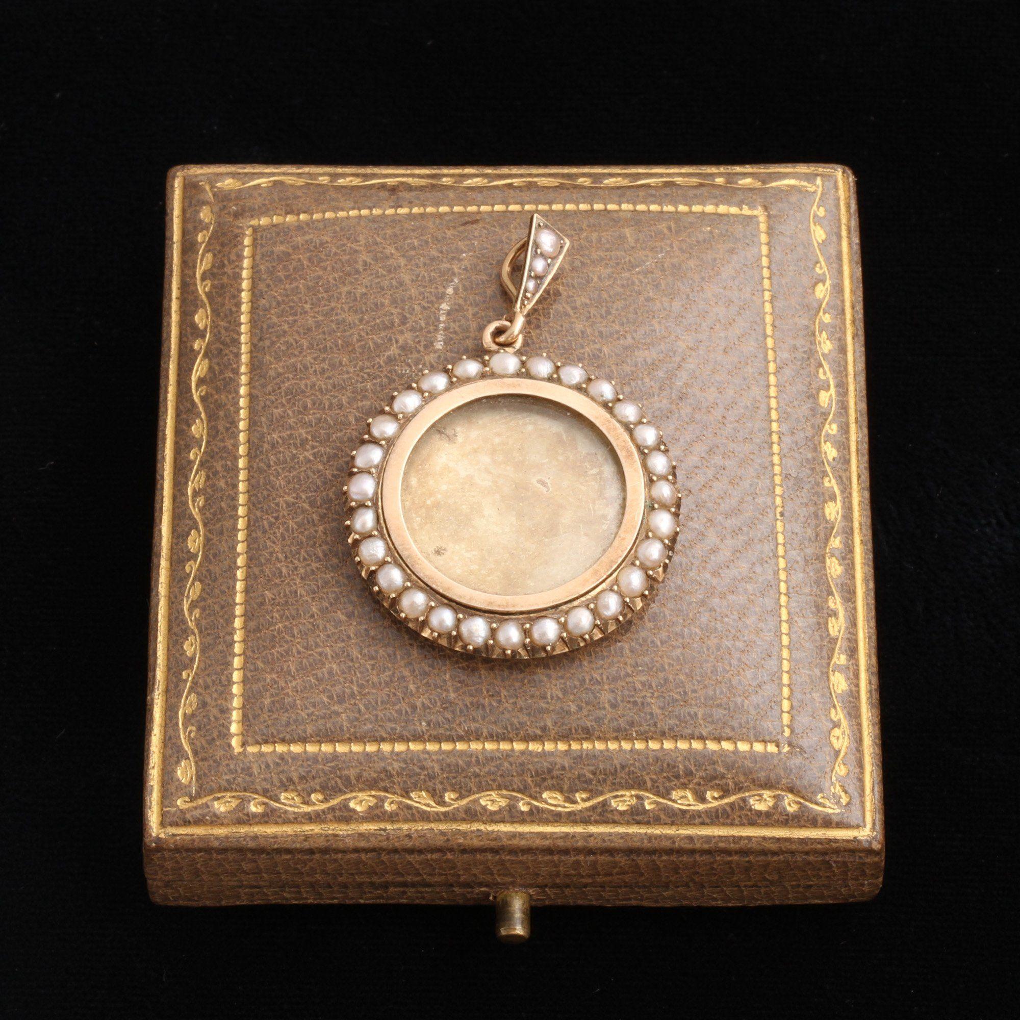 Victorian Seed Pearl Locket in Original Box