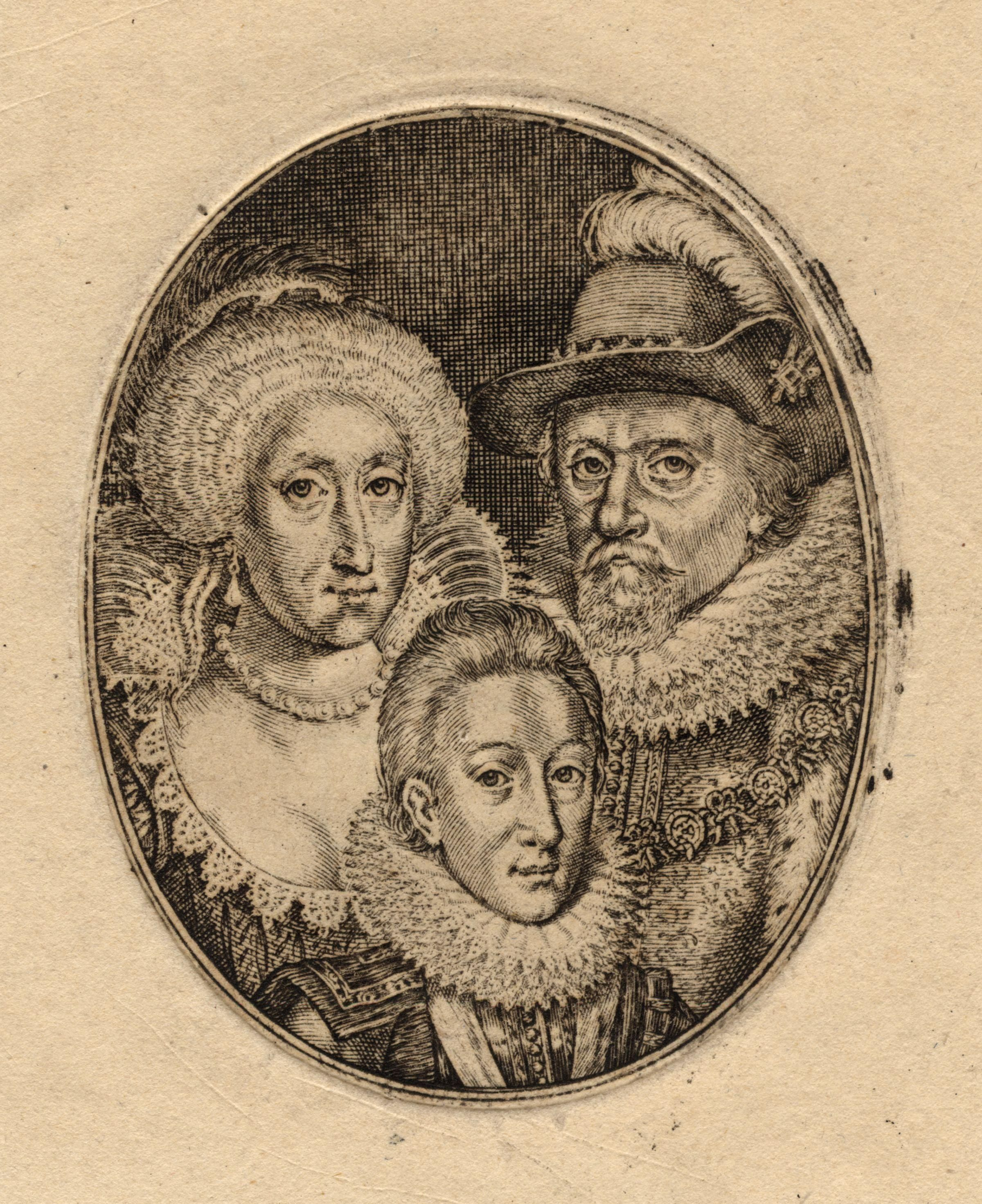 engraving of three royals, black and white, 1612