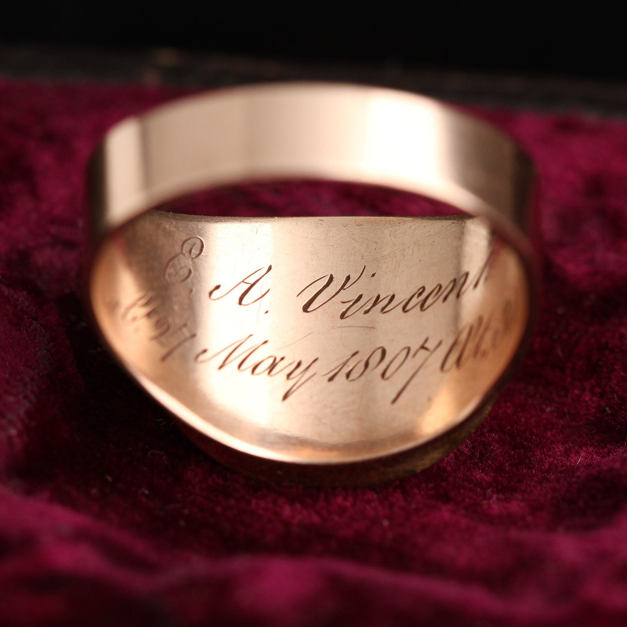 """Detail of inscription of """"Not Lost But Gone Before"""" White Enamel Mourning Ring"""