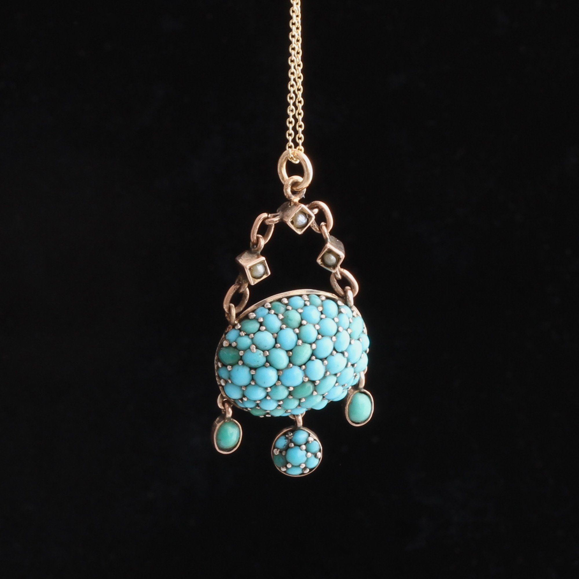 Victorian Turquoise Pavé Pendant