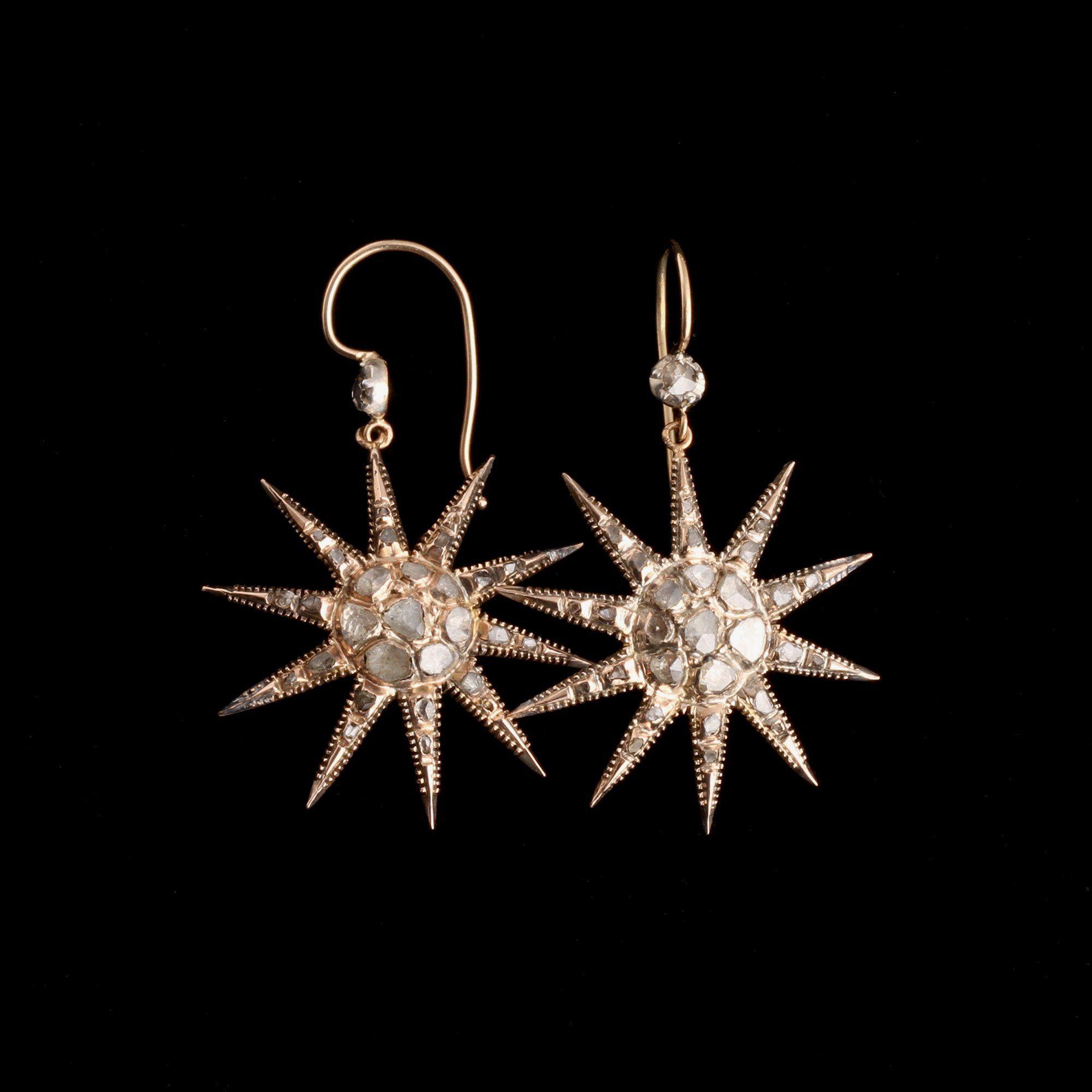 Victorian Diamond Starburst Earrings