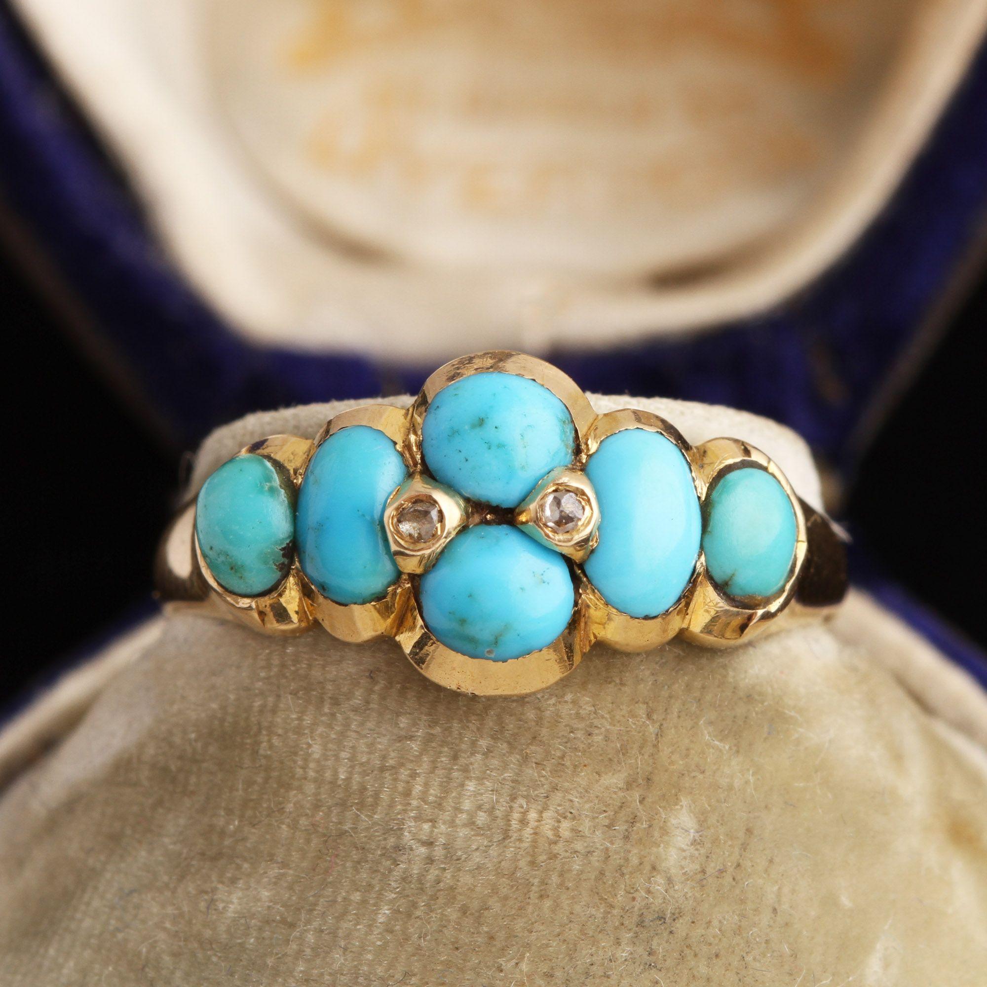 Georgian Turquoise & Rose Cut Diamond Ring