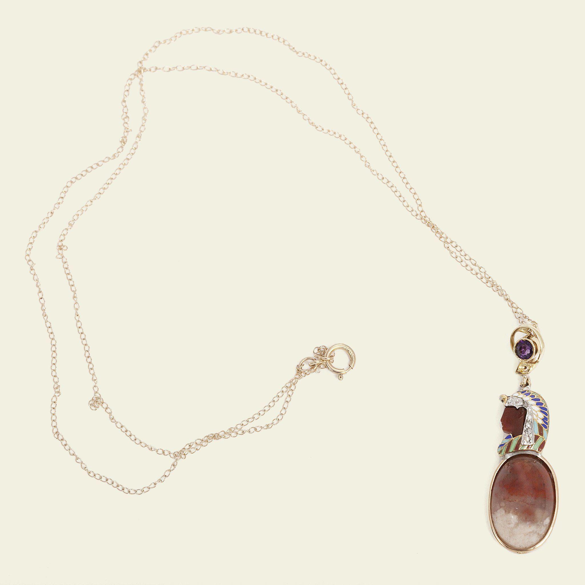 Enameled Egyptian Revival Pharaoh Necklace
