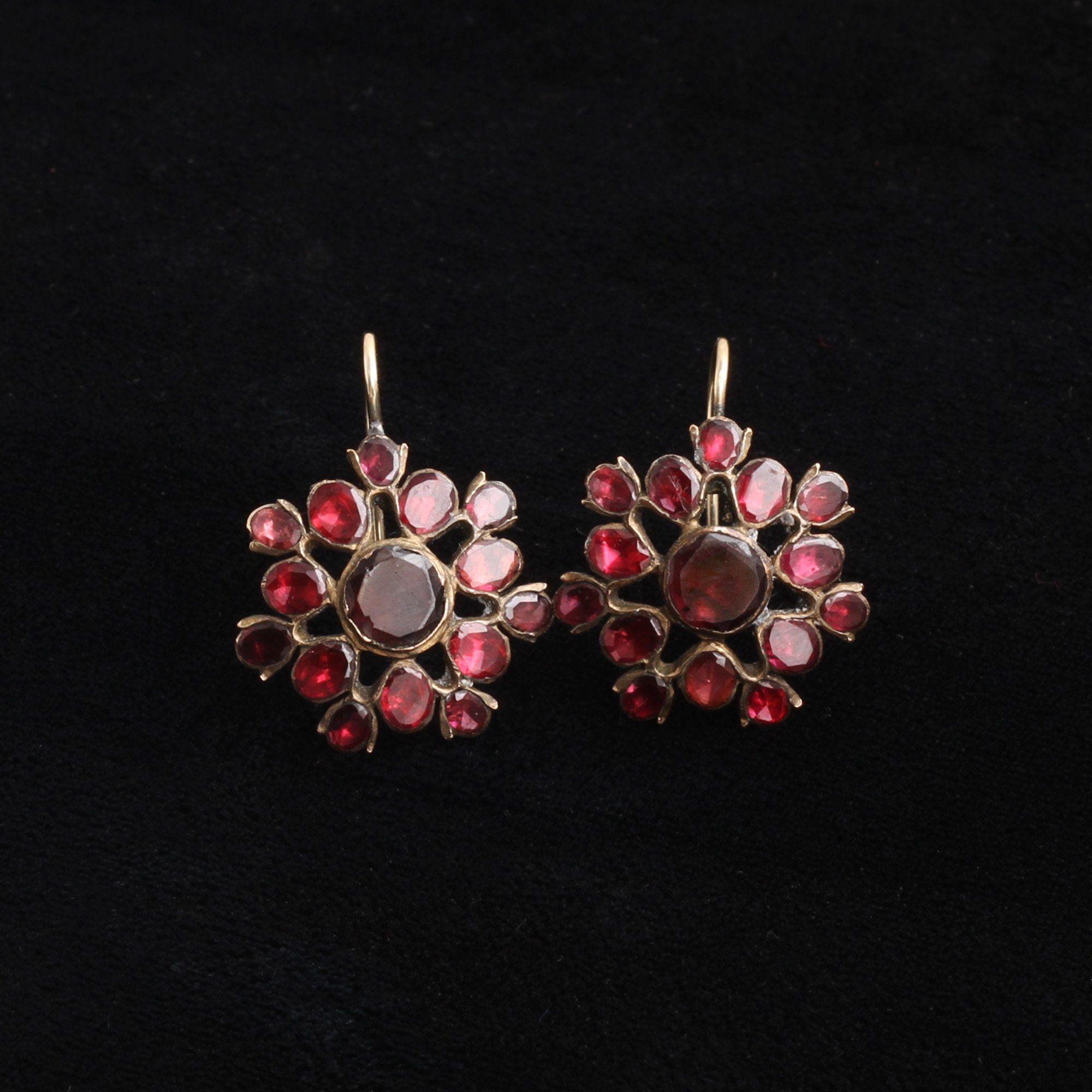 18th Century Flat Cut Garnet Cluster Earrings