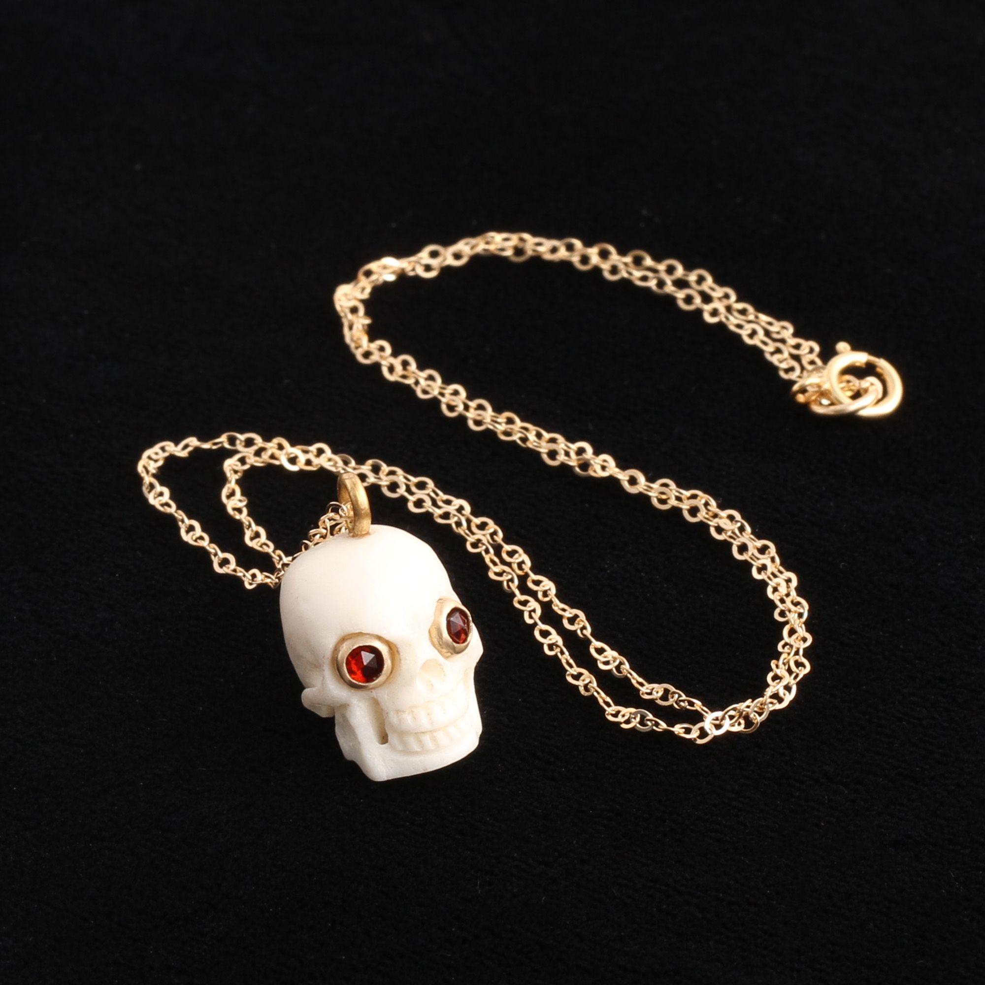 Memento Mori Skull Amulet (White)
