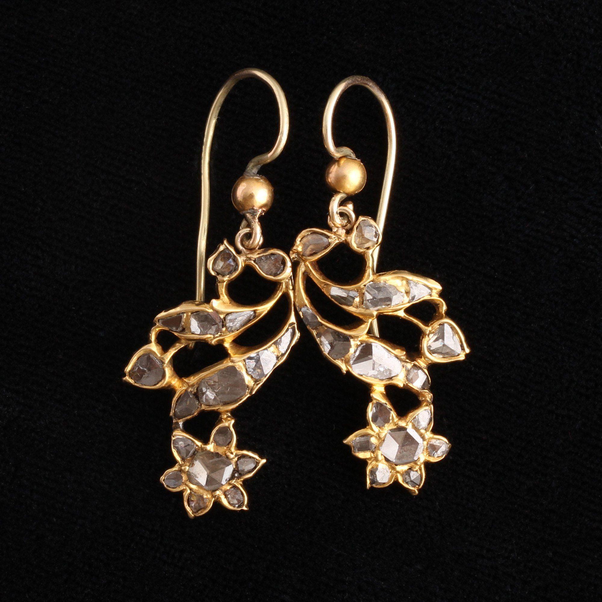 Georgian Rose Cut Diamond Flower Earrings