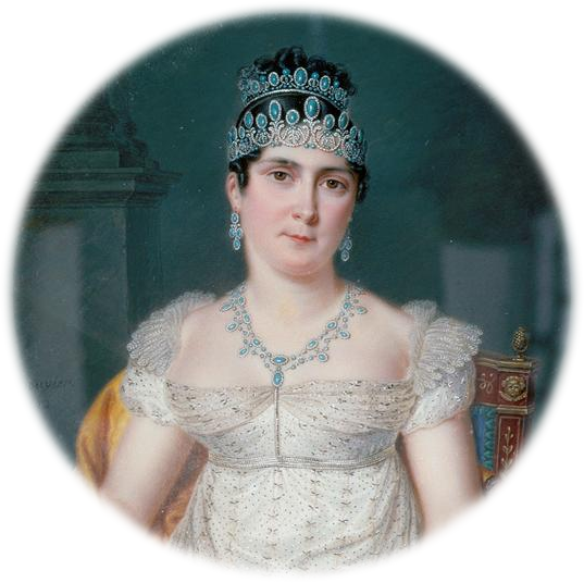 Why wear one turquoise tiara when you can wear two? Note the matching earrings and necklace. A full set of matching jewelry is called a parure. Josephine de Beauharnais, by Pierre Louis Bouvier, c. 1812