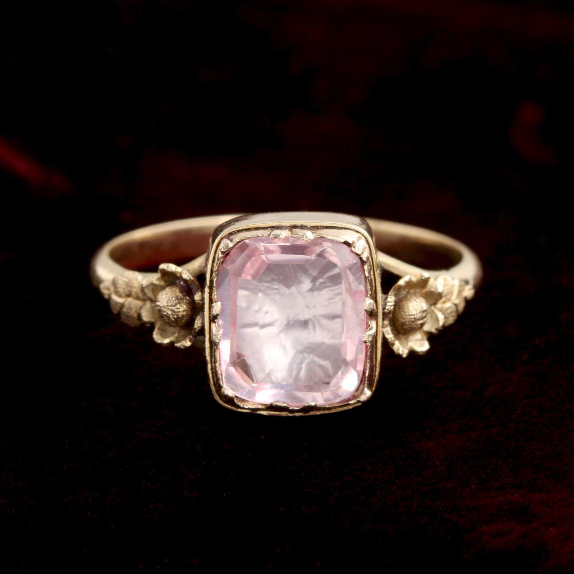 Georgian Pink-Foiled Rock Crystal Ring