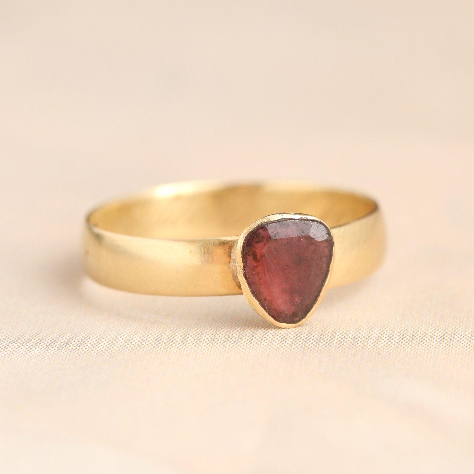 19th Century Belgian Garnet Heart Wedding Ring