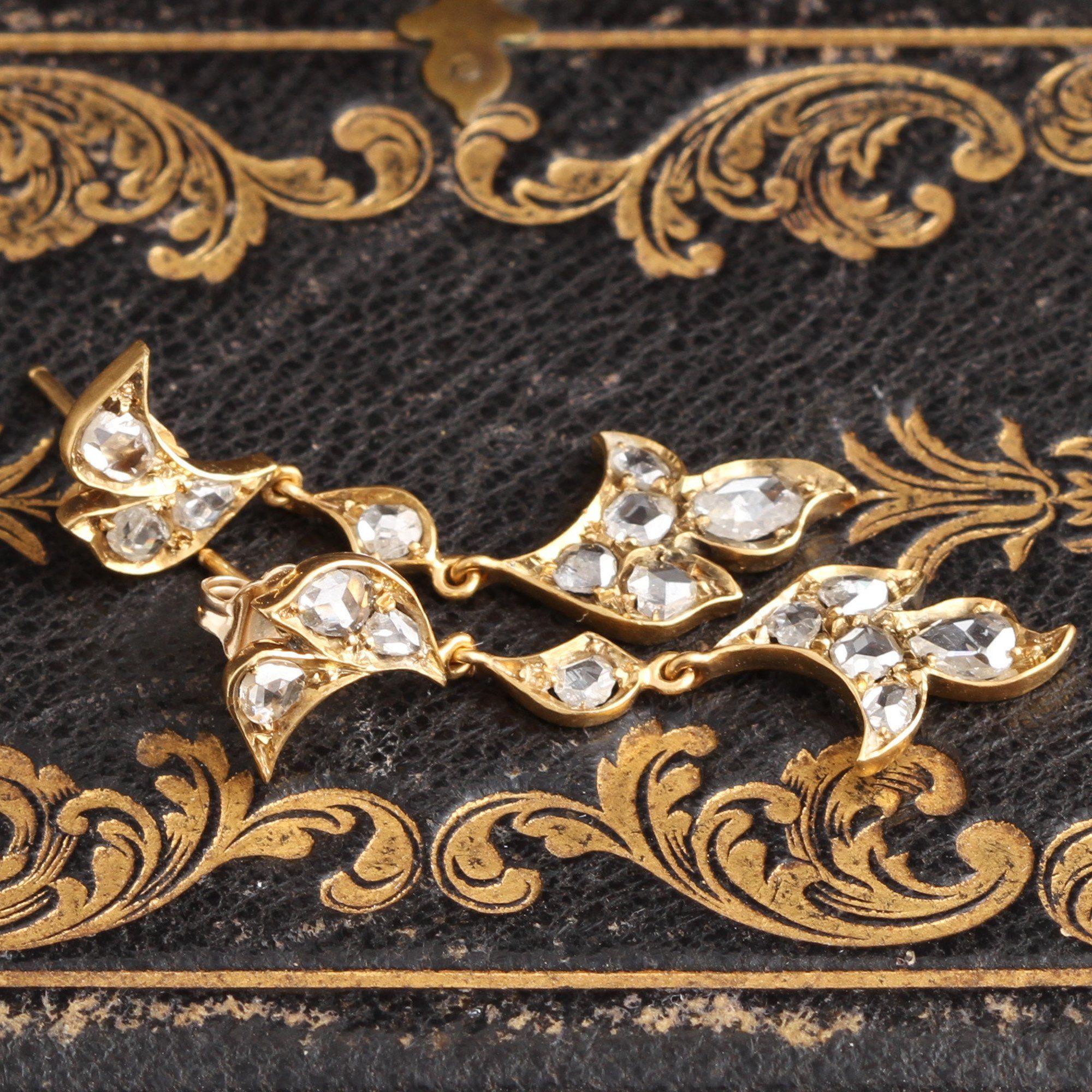 Edwardian Foliate Rose Cut Diamond Earrings