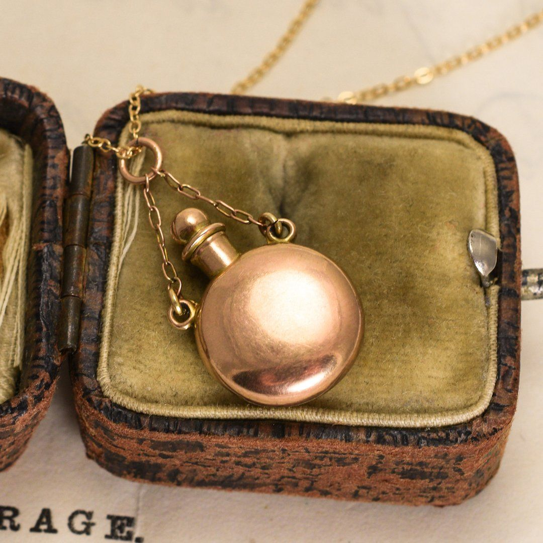 Detail of Victorian Gold Scent Bottle Necklace