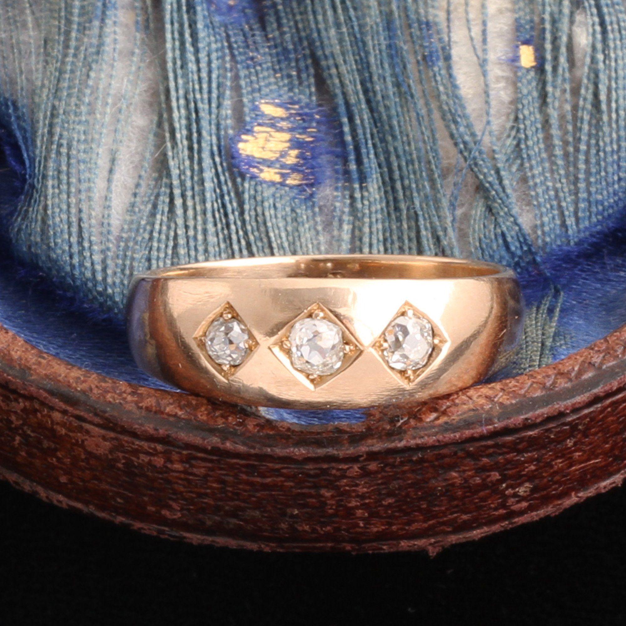 Late Victorian Three Stone Diamond on Diamond Ring