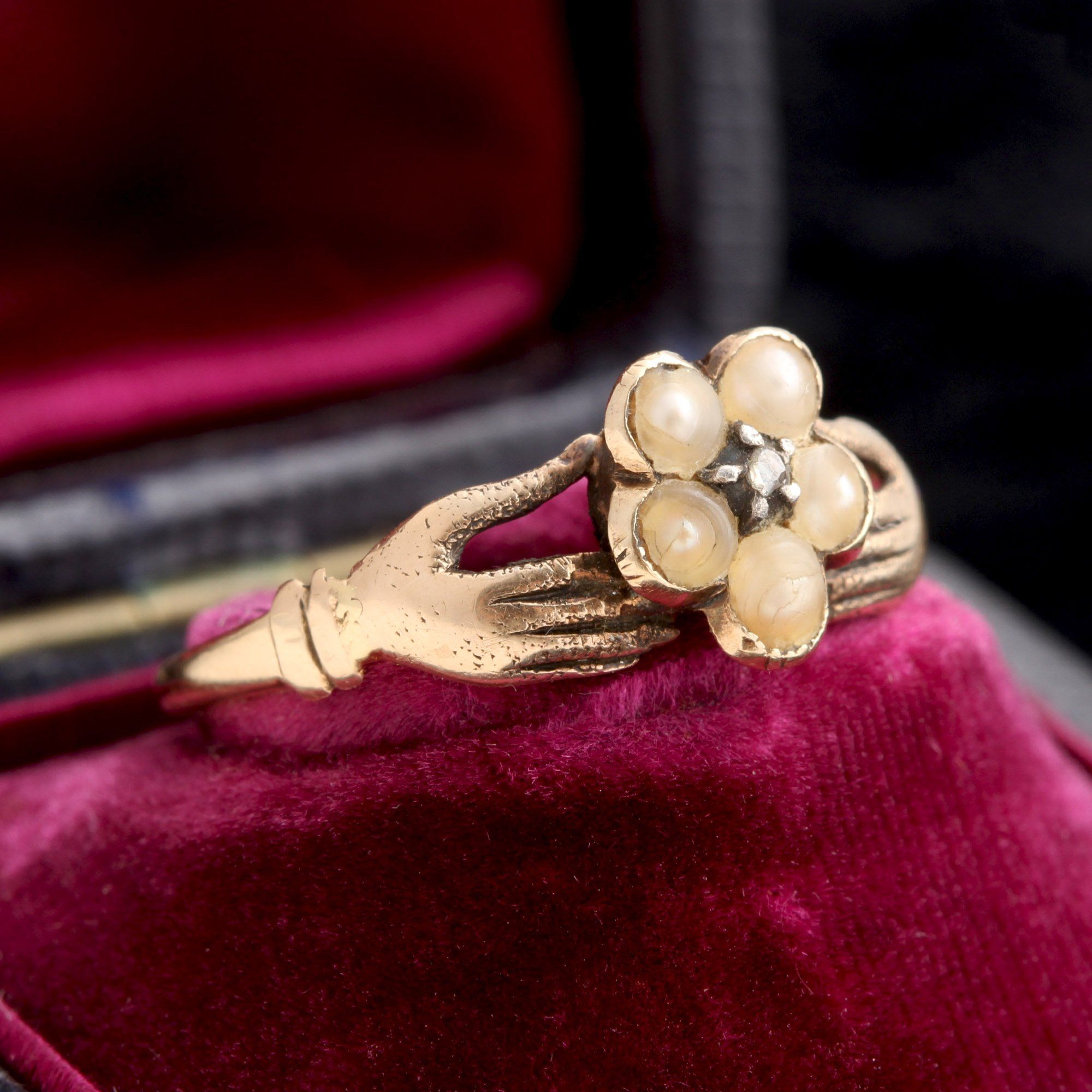 Early Victorian Pansy Cluster Hand Ring