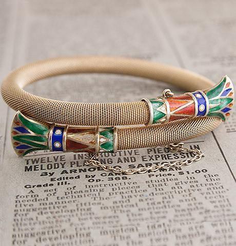 Egyptian Revival Silver Gilt and Enamel Lotus Bracelet