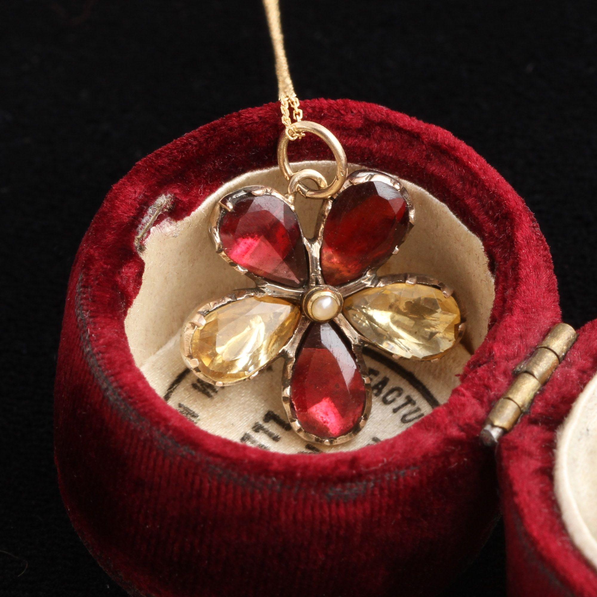 Georgian Garnet & Citrine Pansy Pendant