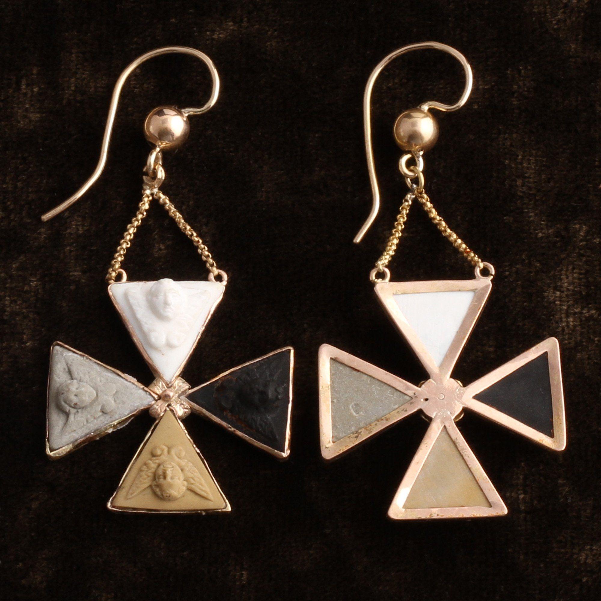 Grand Tour Maltese Cross Earrings with Lava Cameo Cherubs