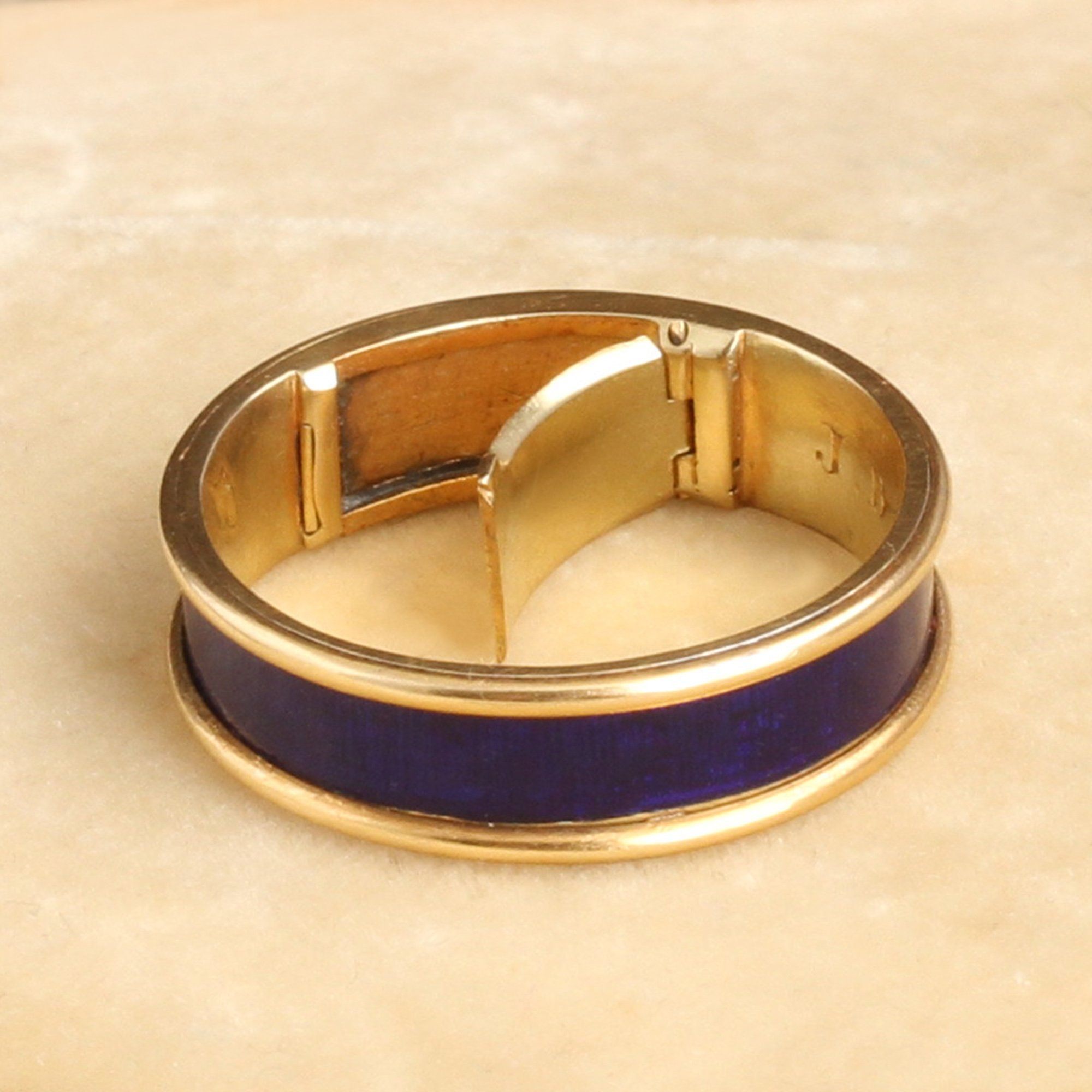 Detail of Georgian Enameled Mourning Ring with Concealed Locket