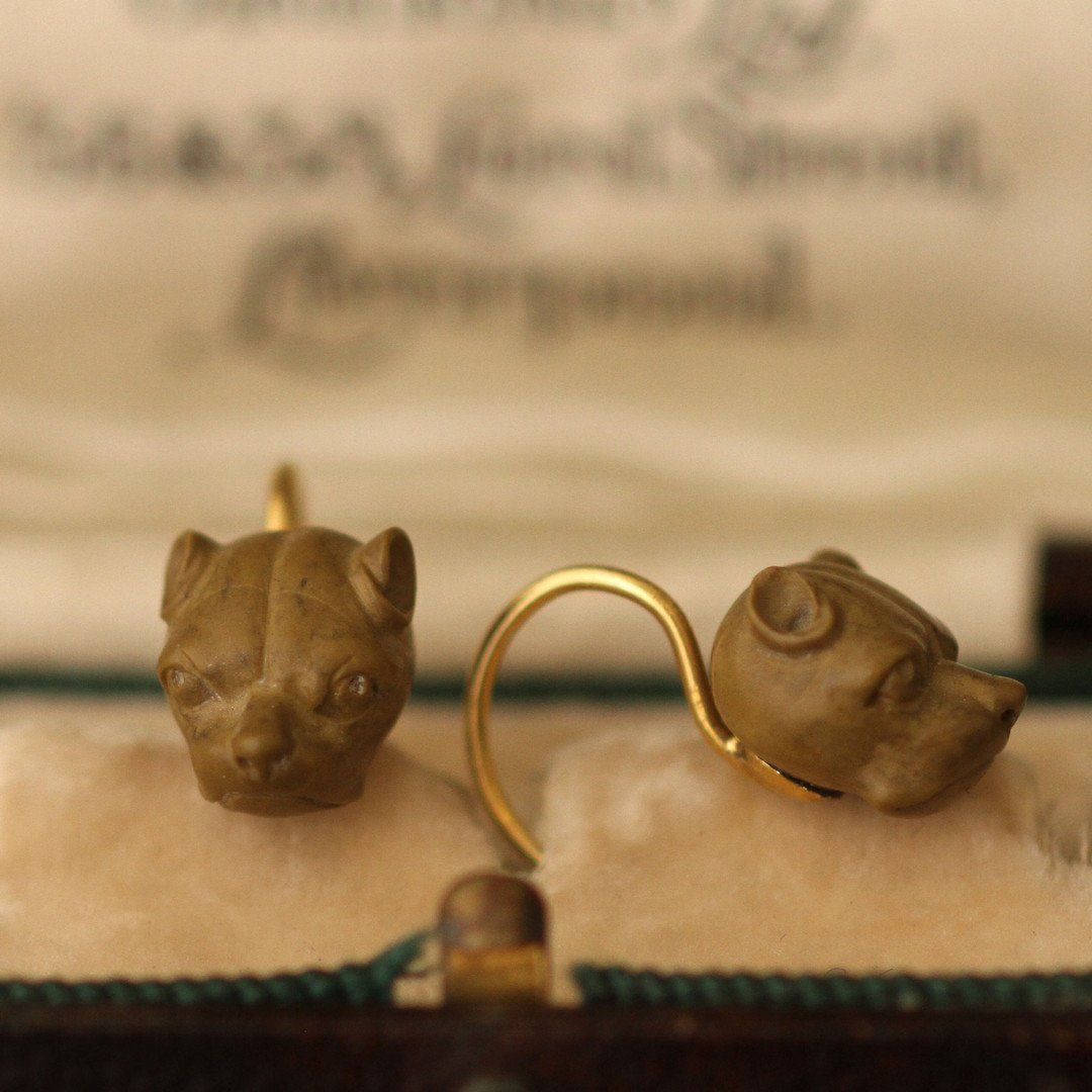 Victorian Lava Cane Corso Earrings