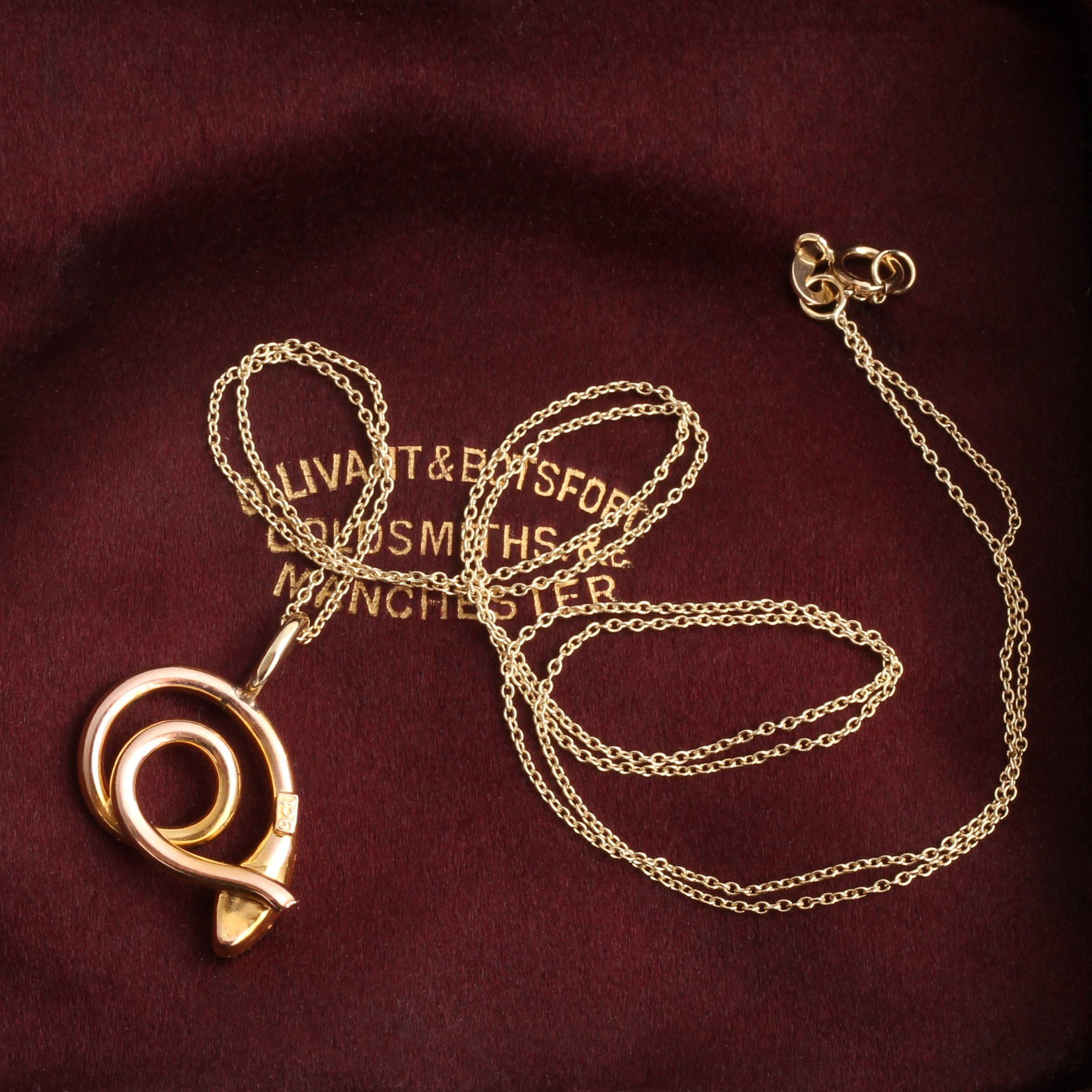 Victorian Coiled Snake Charm Necklace