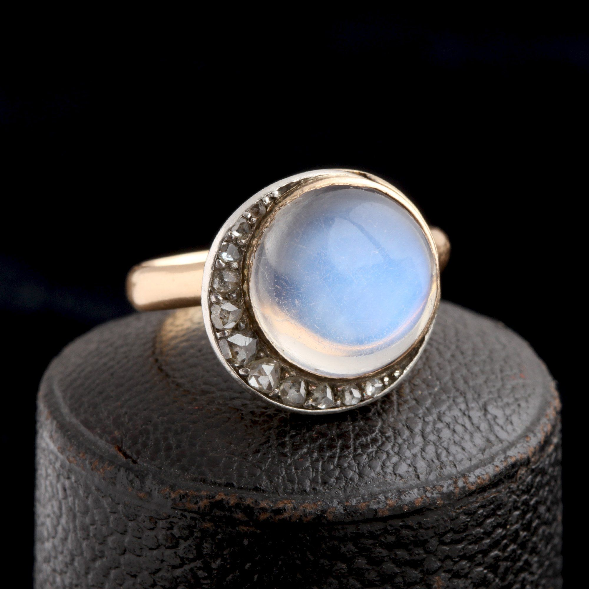 Victorian Moonstone & Diamond Celestial Ring