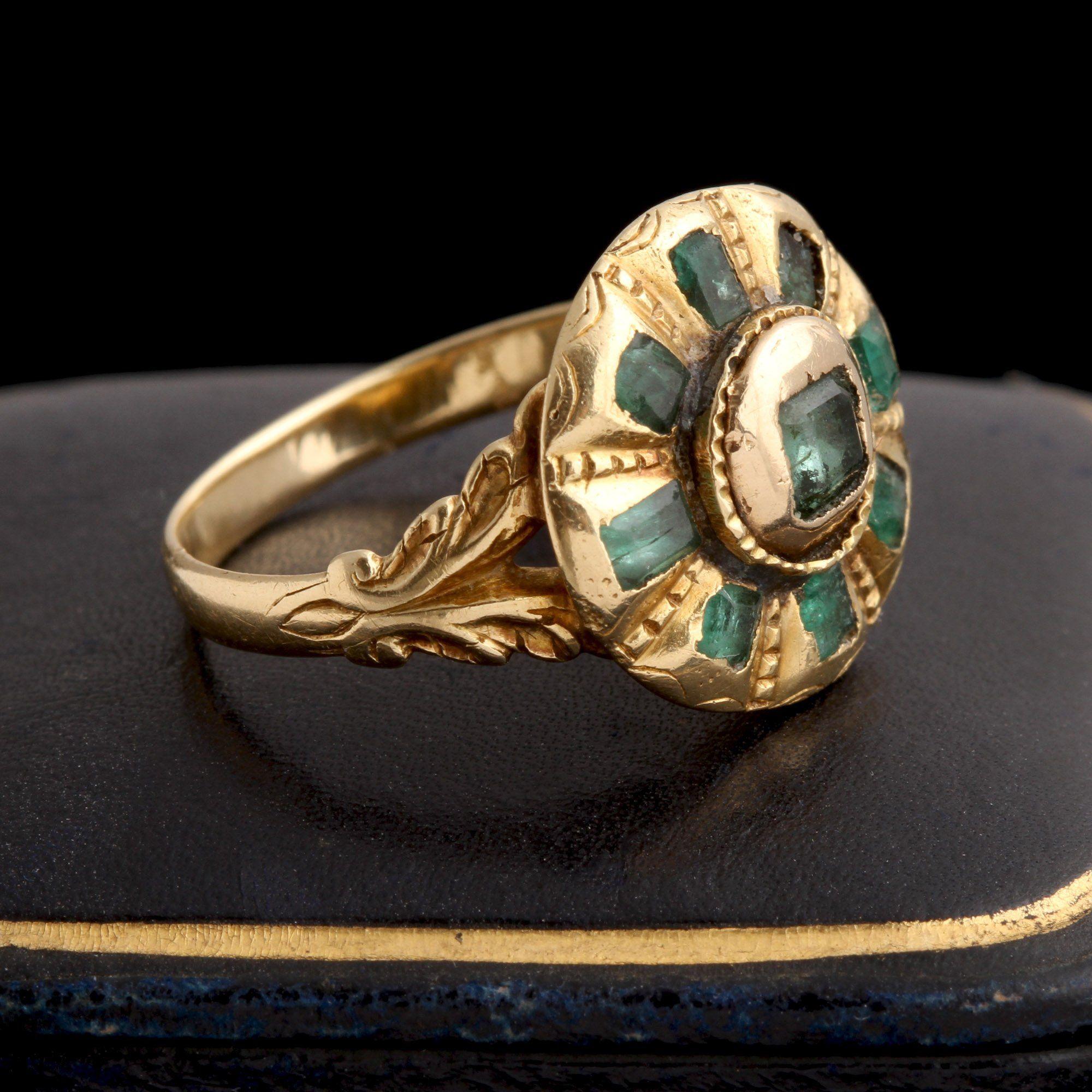 18th Century Iberian Emerald Cluster Ring