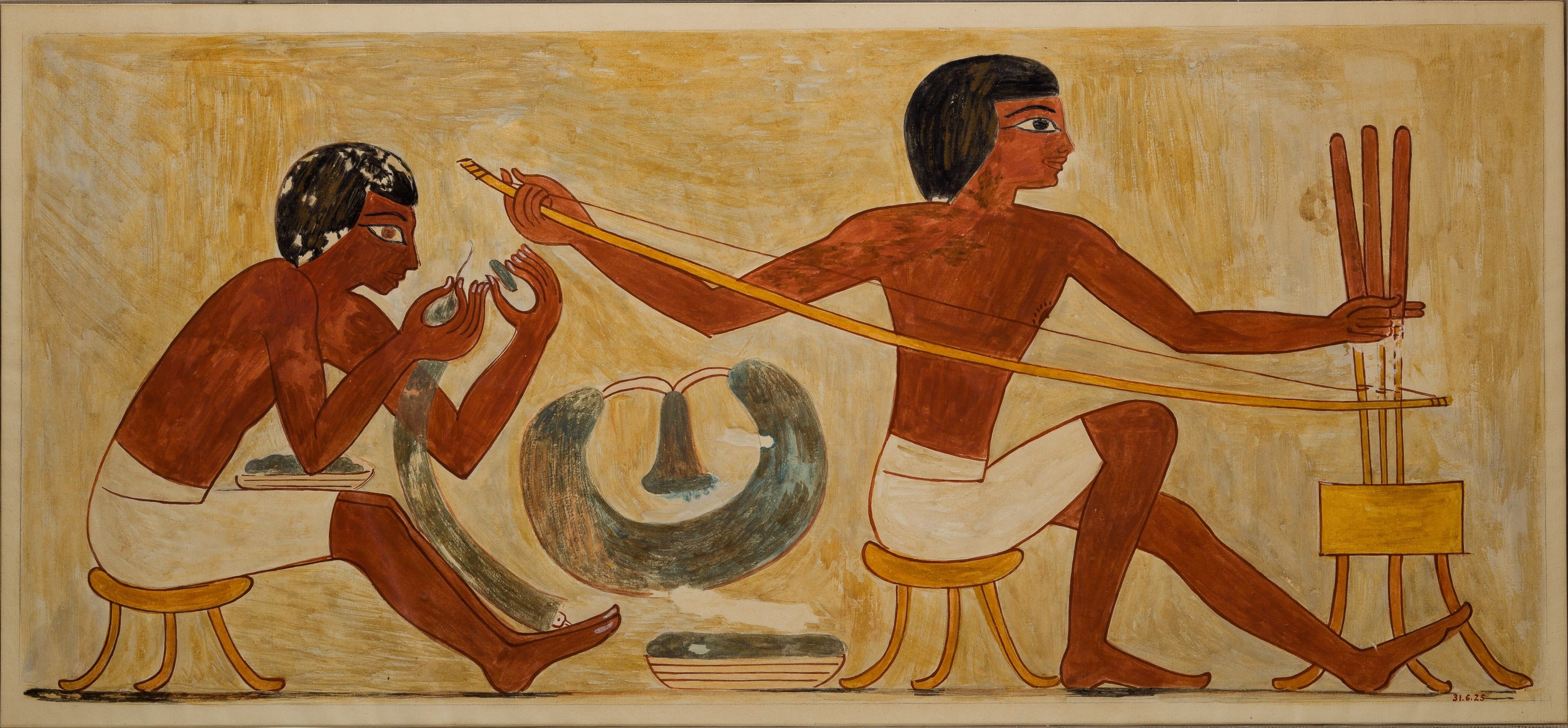 Stringing and Drilling Beads, Tomb of Rekhmire ca. 1504–1425 B.C.