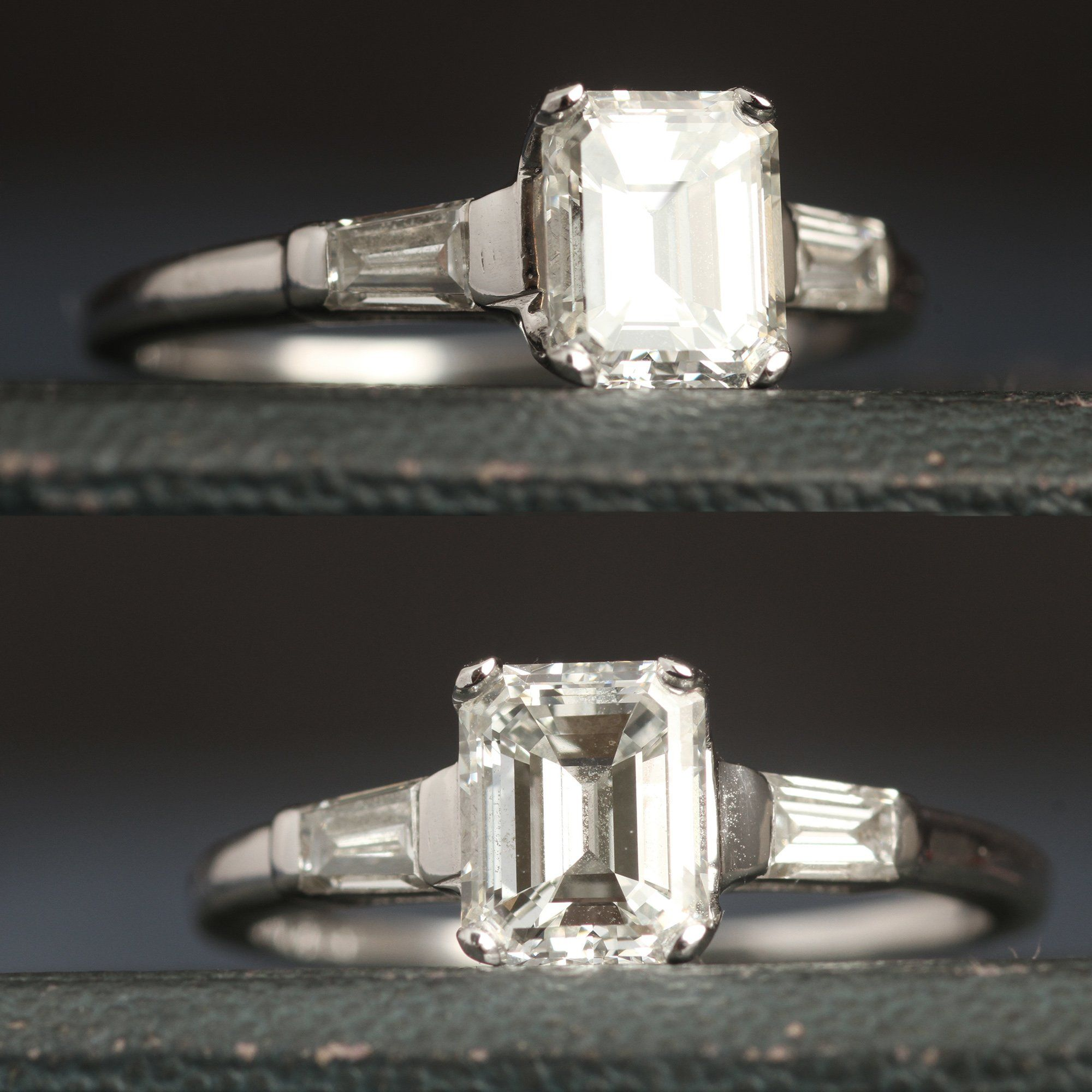 Vintage 1.14ct Emerald Cut Diamond Engagement Ring