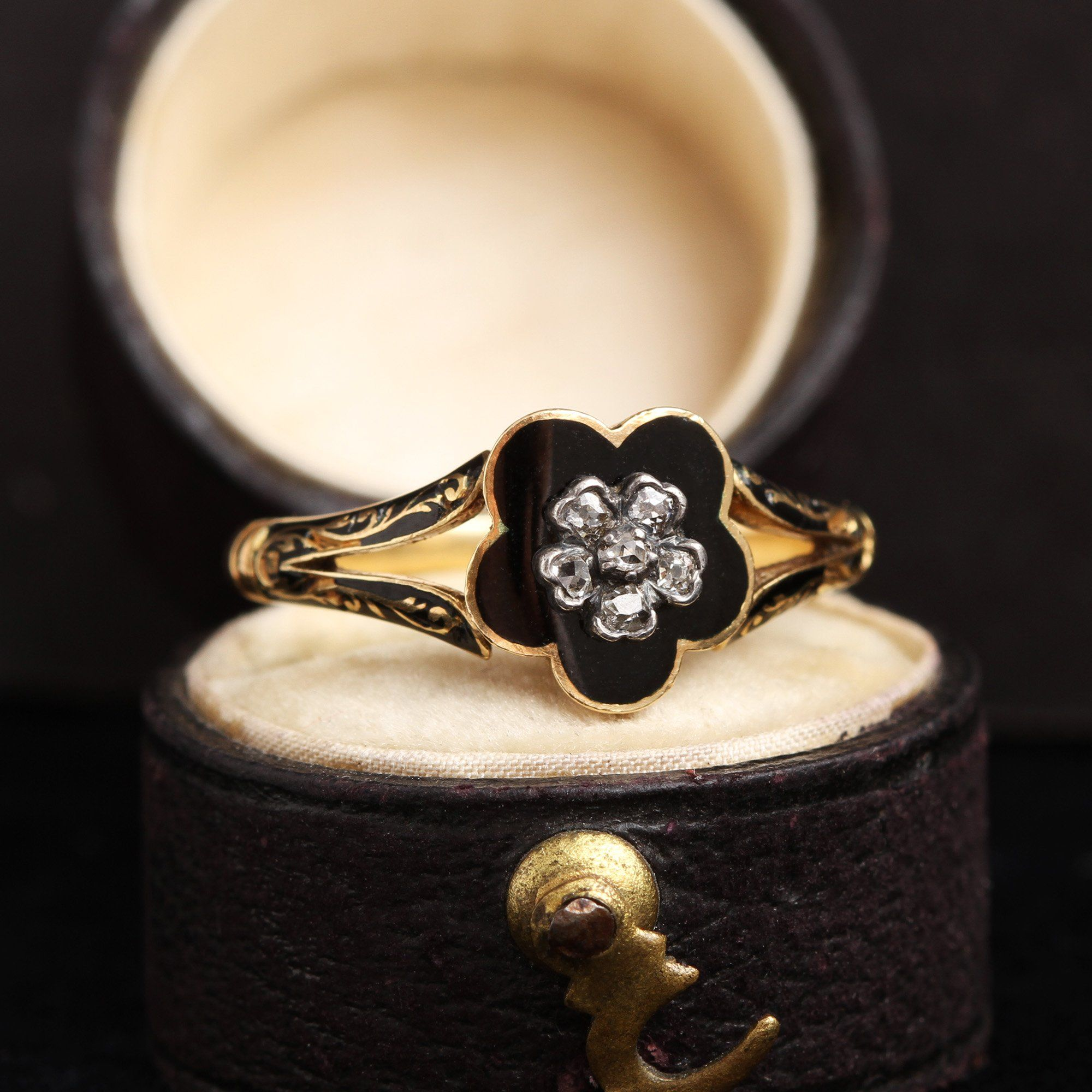 Early Victorian Diamond and Enamel Pansy Mourning Ring