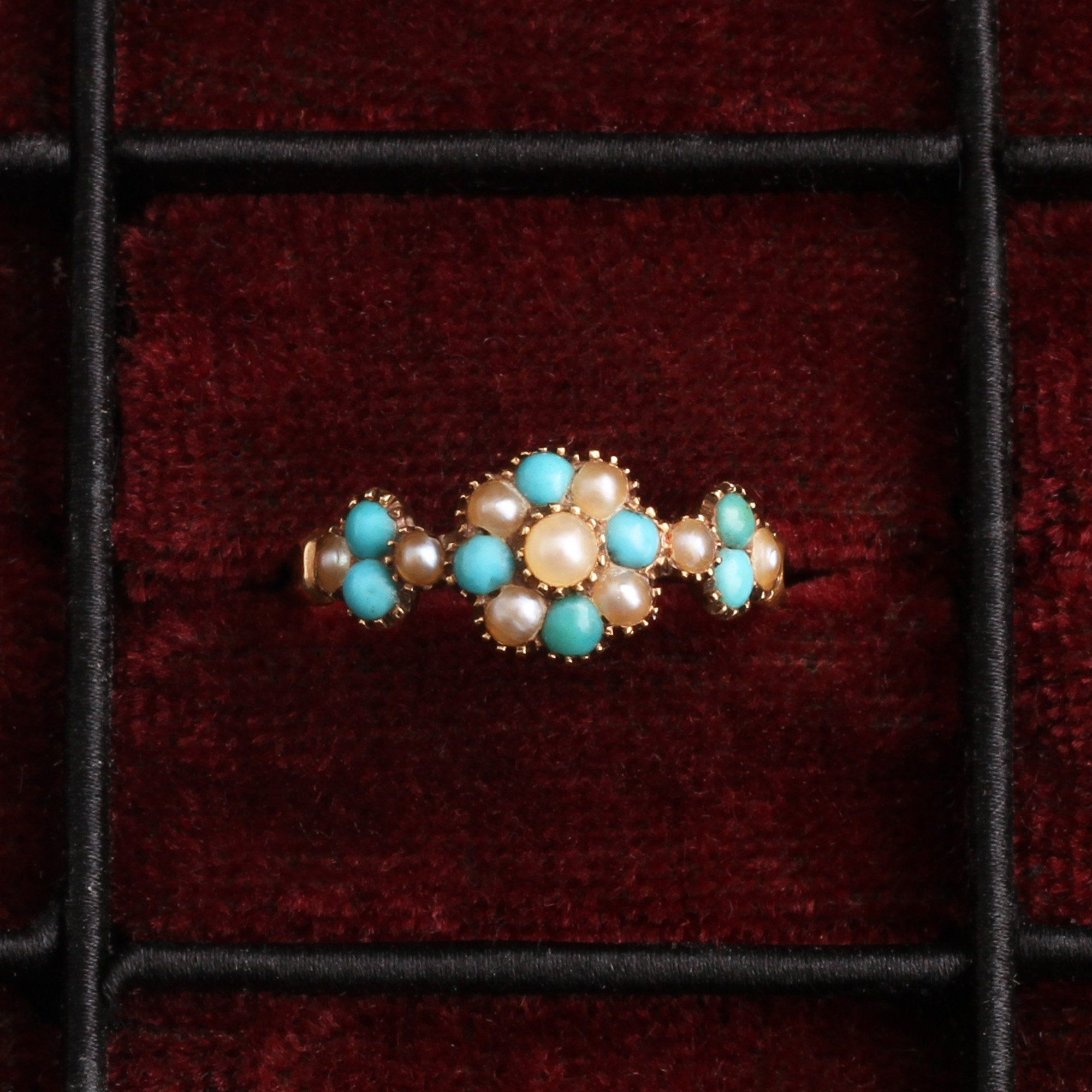 Georgian Turquoise & Pearl Cluster Ring