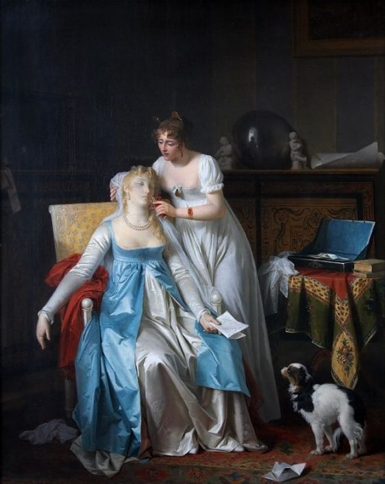 """A fainting woman is revived with smelling salts or other sharp scent. """"La Mauvaise Nouvelle,"""" Gérard, Marguerite, 1804."""
