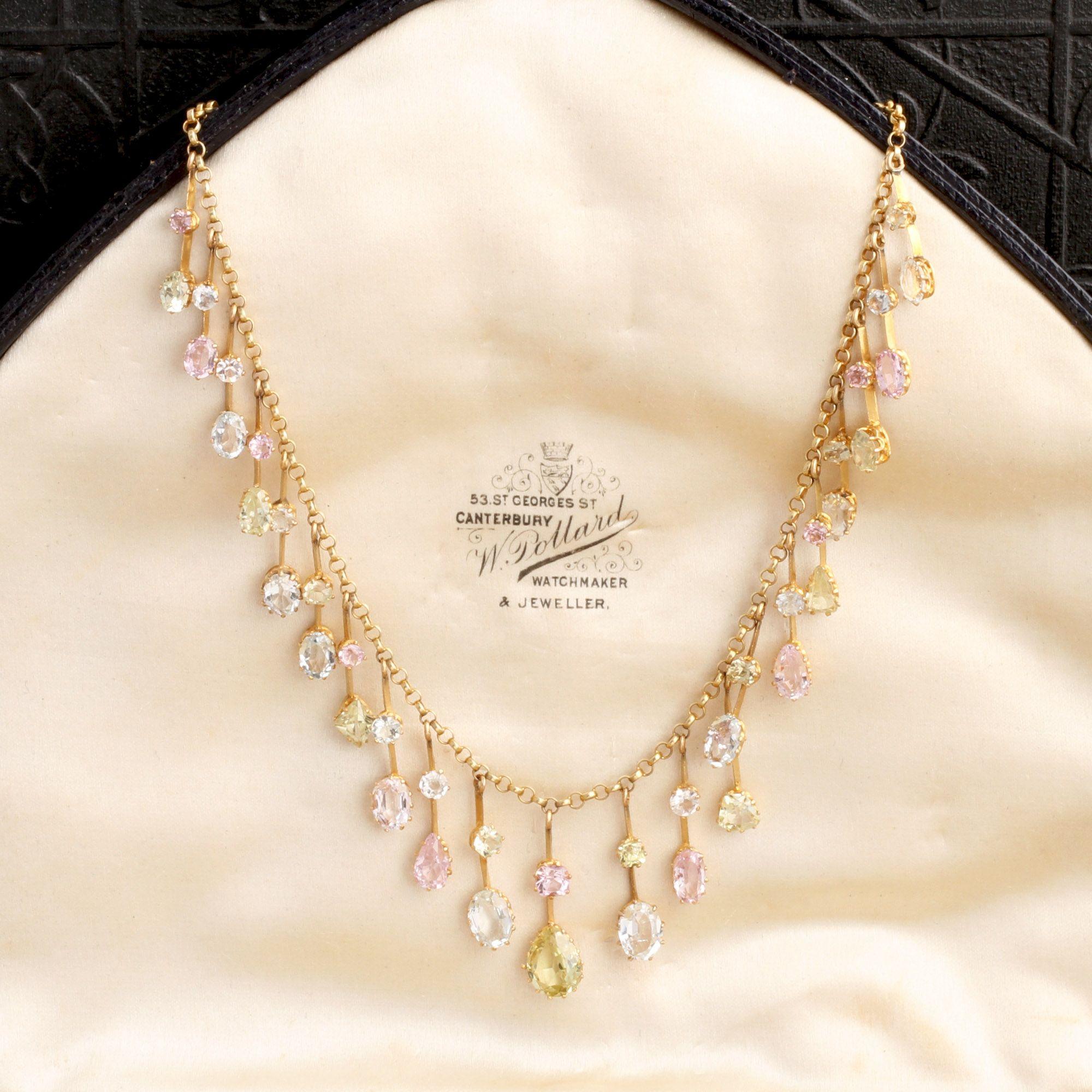 Edwardian Pastel Gemstone Fringe Necklace