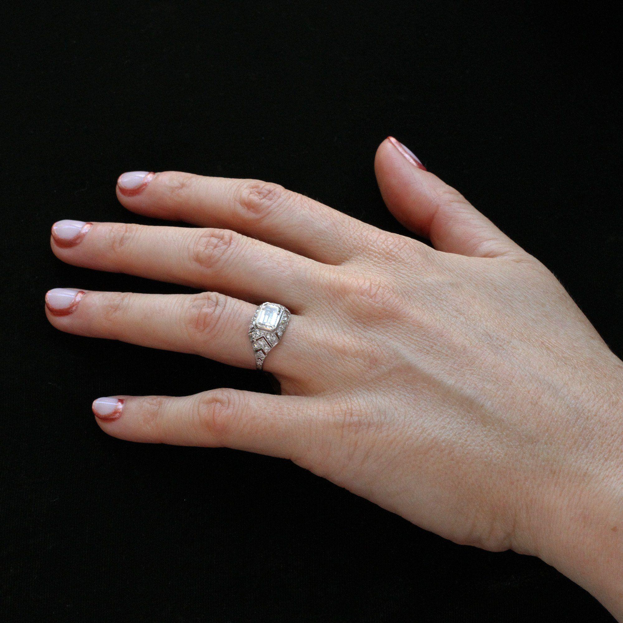 Art Deco 1.10ct Emerald Cut Diamond Chevron Engagement Ring