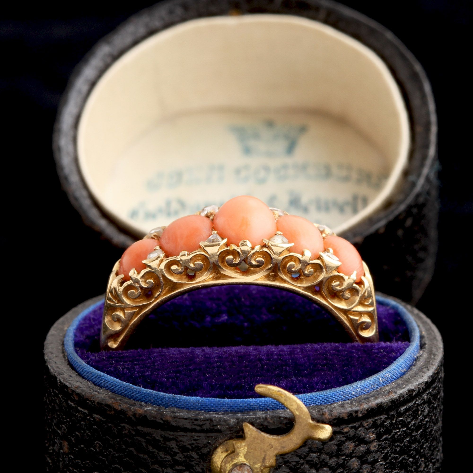 Victorian Five Stone Coral Ring