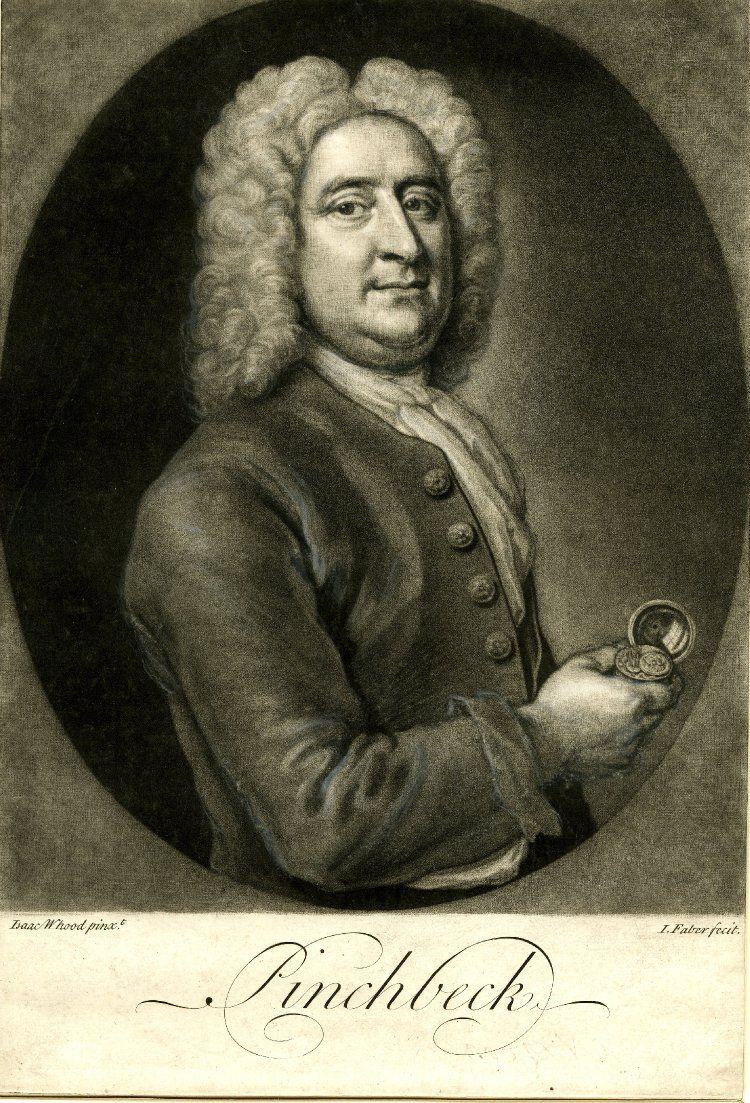 Print of Christopher Pinchbeck by John Faber Jr, c.1720-1750.