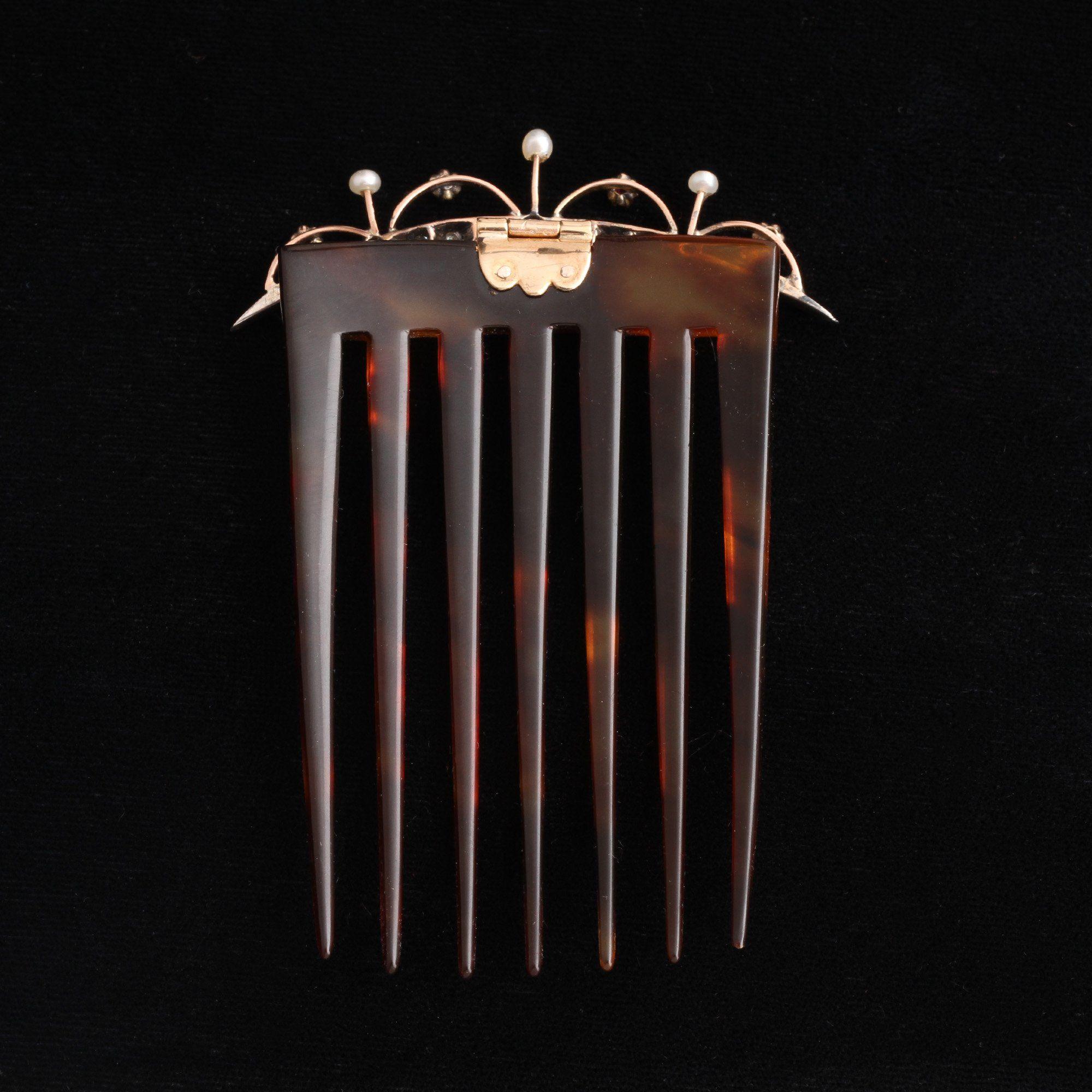 Victorian Ruby, Diamond & Pearl Comb in Original Box