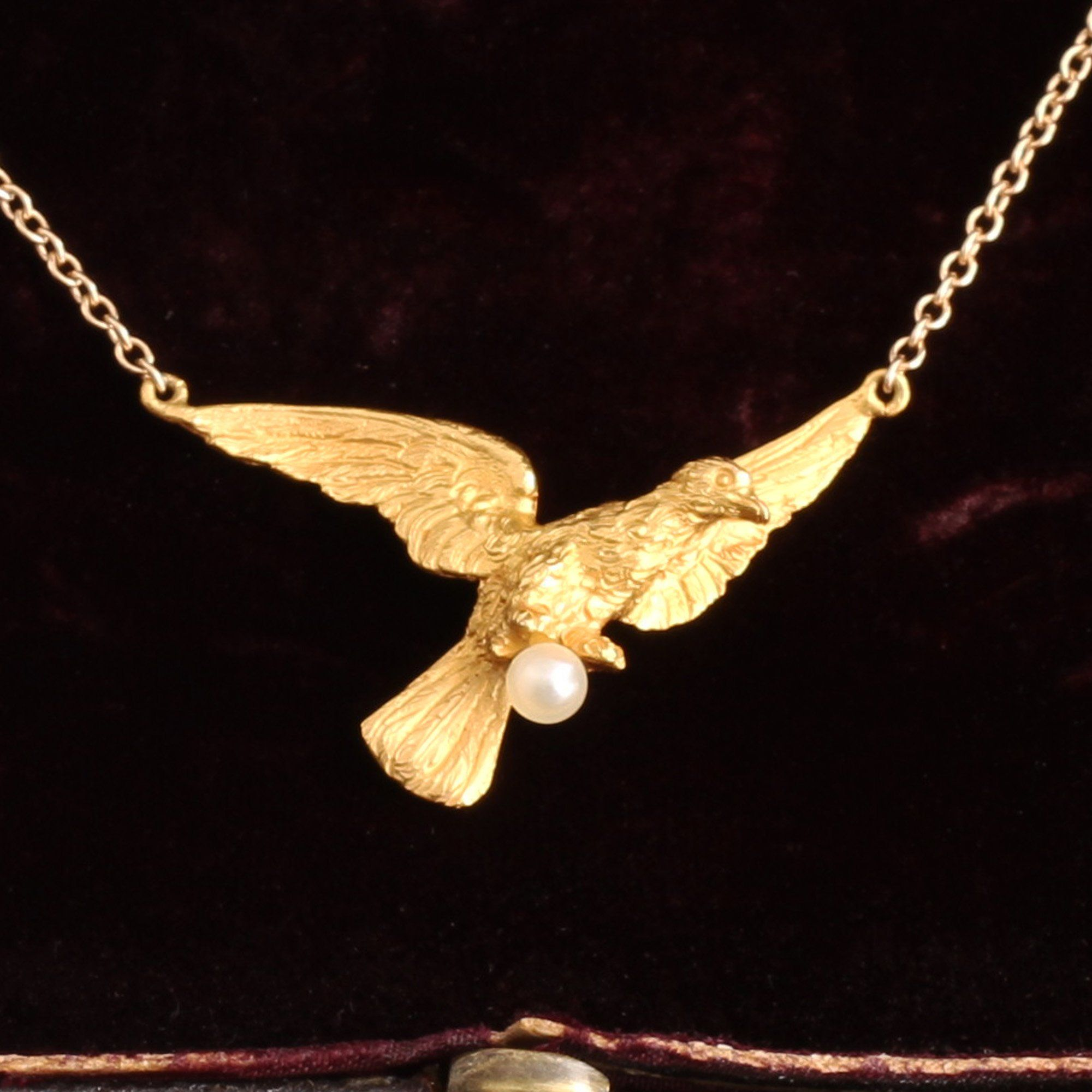Late Victorian Gold Bird and Pearl Egg Necklace