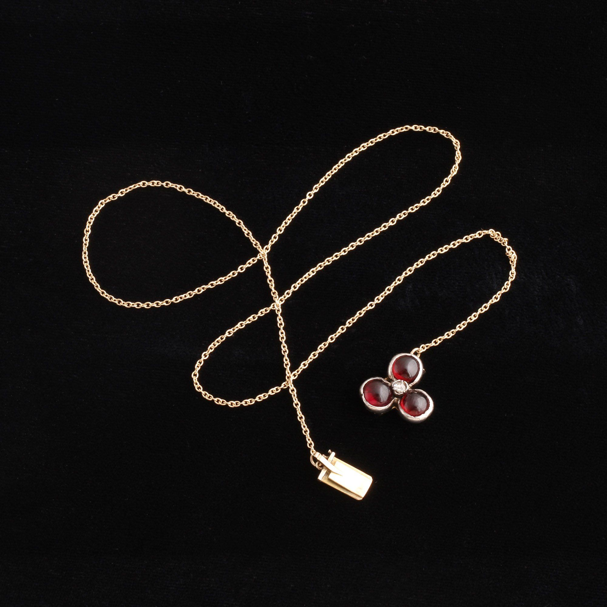 Victorian Garnet & Diamond Clover Necklace