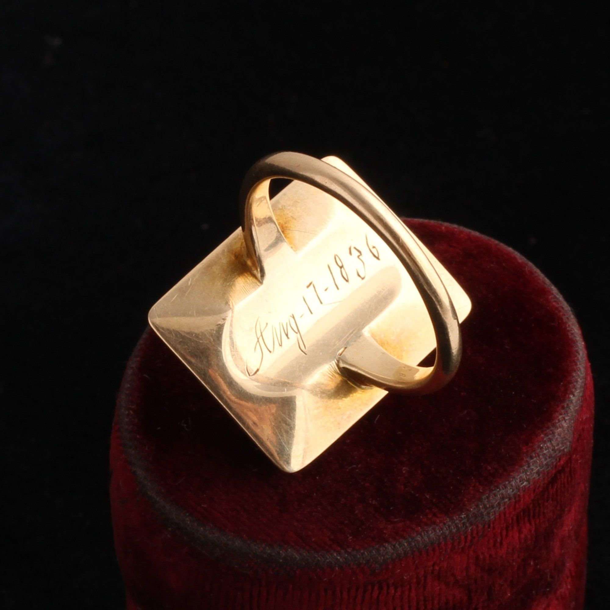 Georgian Enamel Greek Key and Garnet Ring