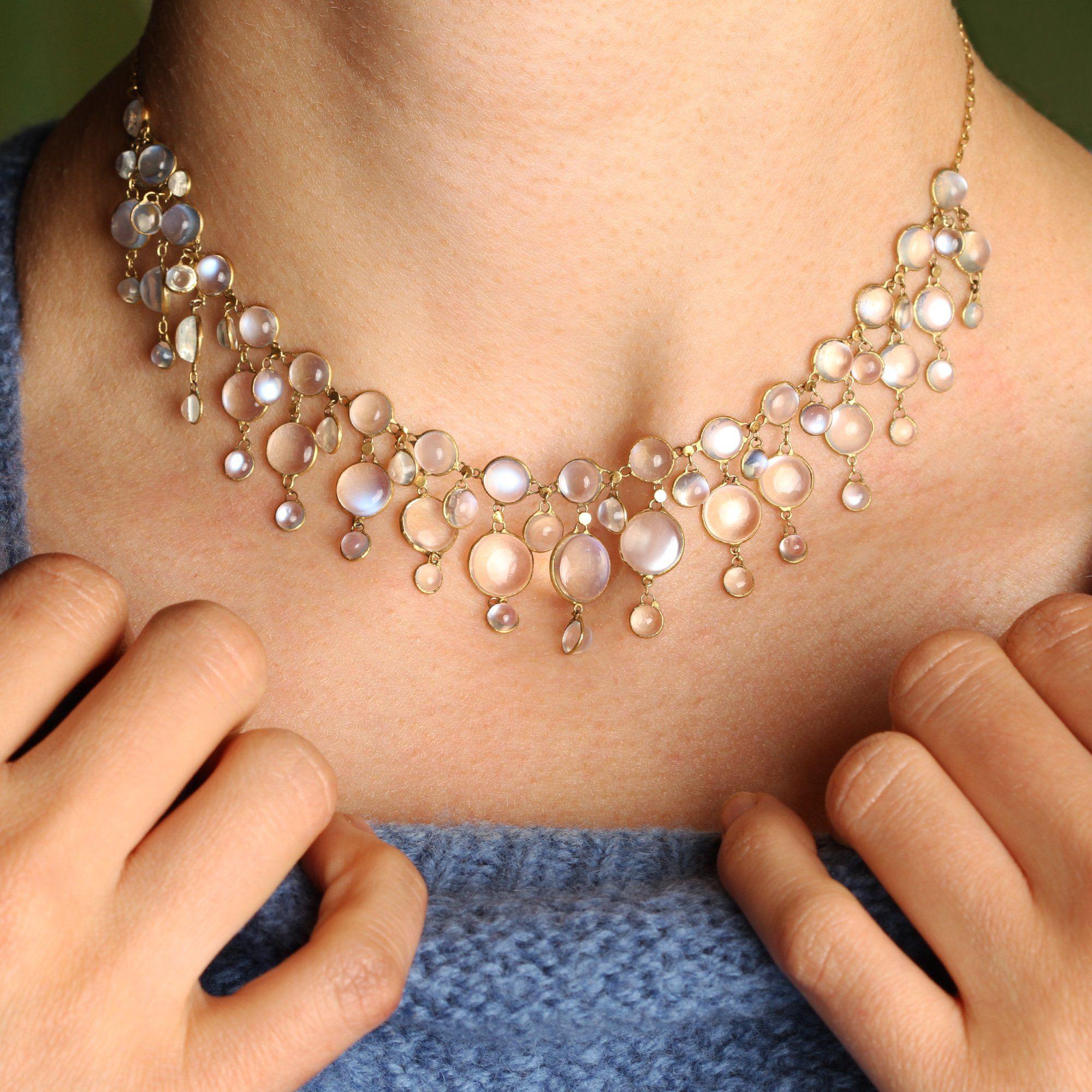 Art Nouveau Moonstone Fringe Collar