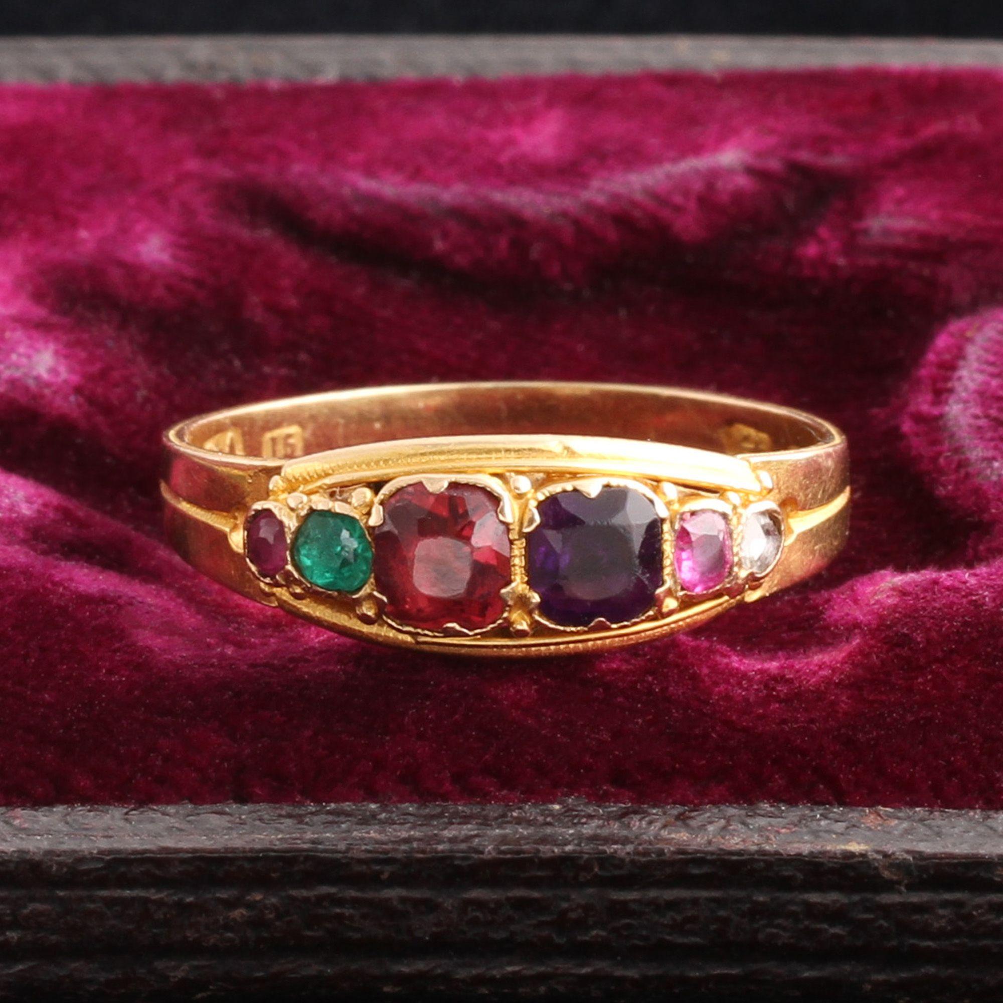 "Georgian Graduated Stone ""REGARD"" Acrostic Ring"
