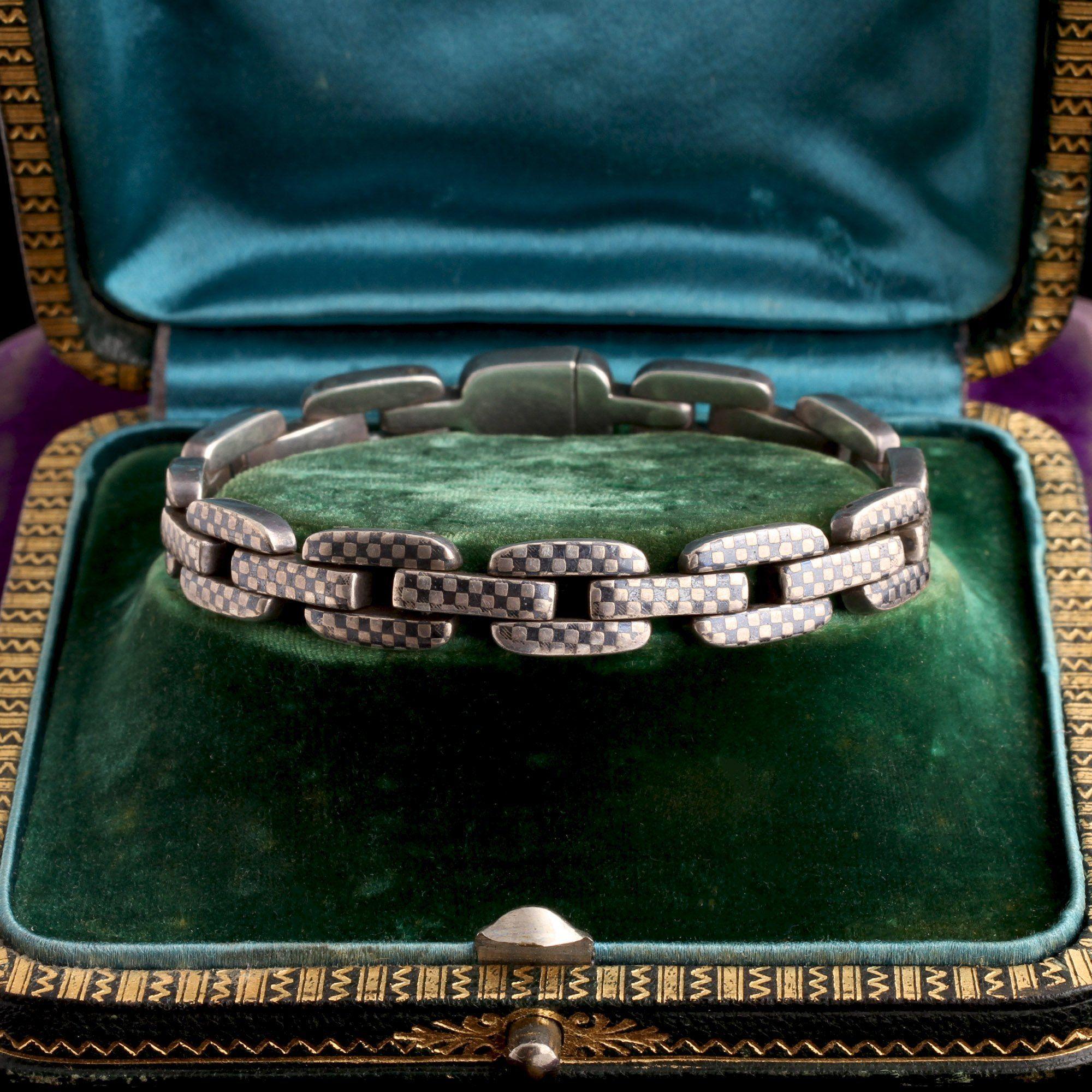 Victorian Silver Niello Chain Link Bracelet