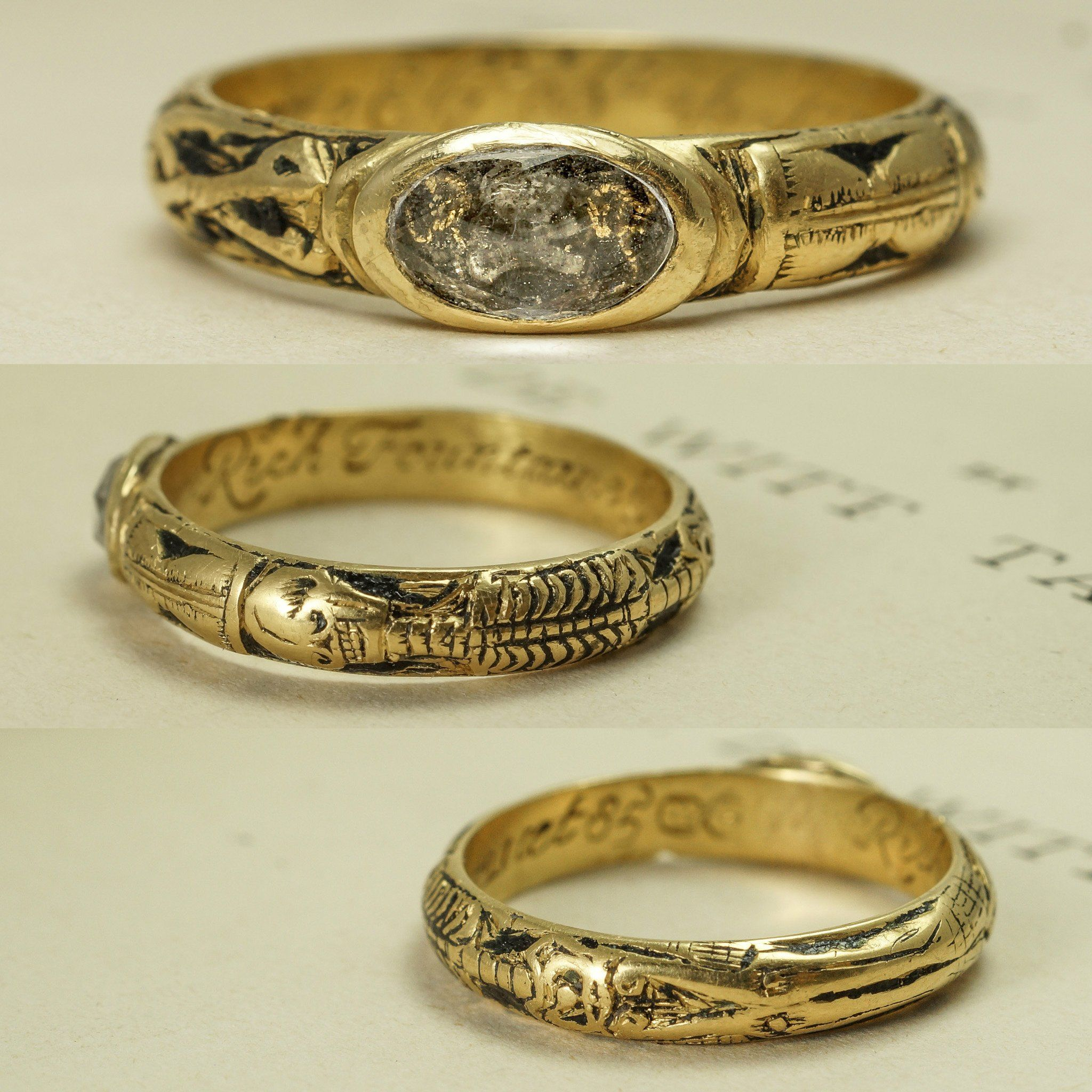 Georgian Skeletal Mourning Ring with Skull and Cipher