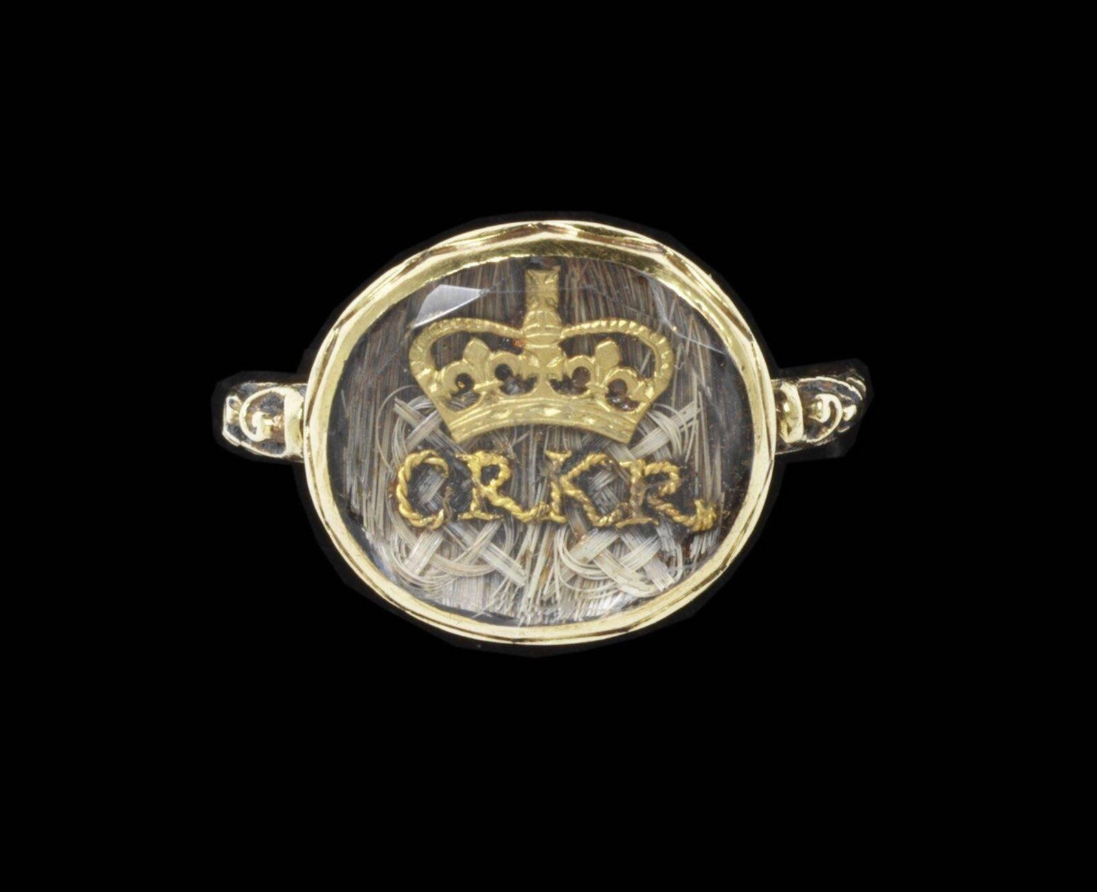 """Ring, 1685-1705, in the collection of the V&A Museum. """"CR"""" stands for """"Charles Rex."""" Rex=King."""