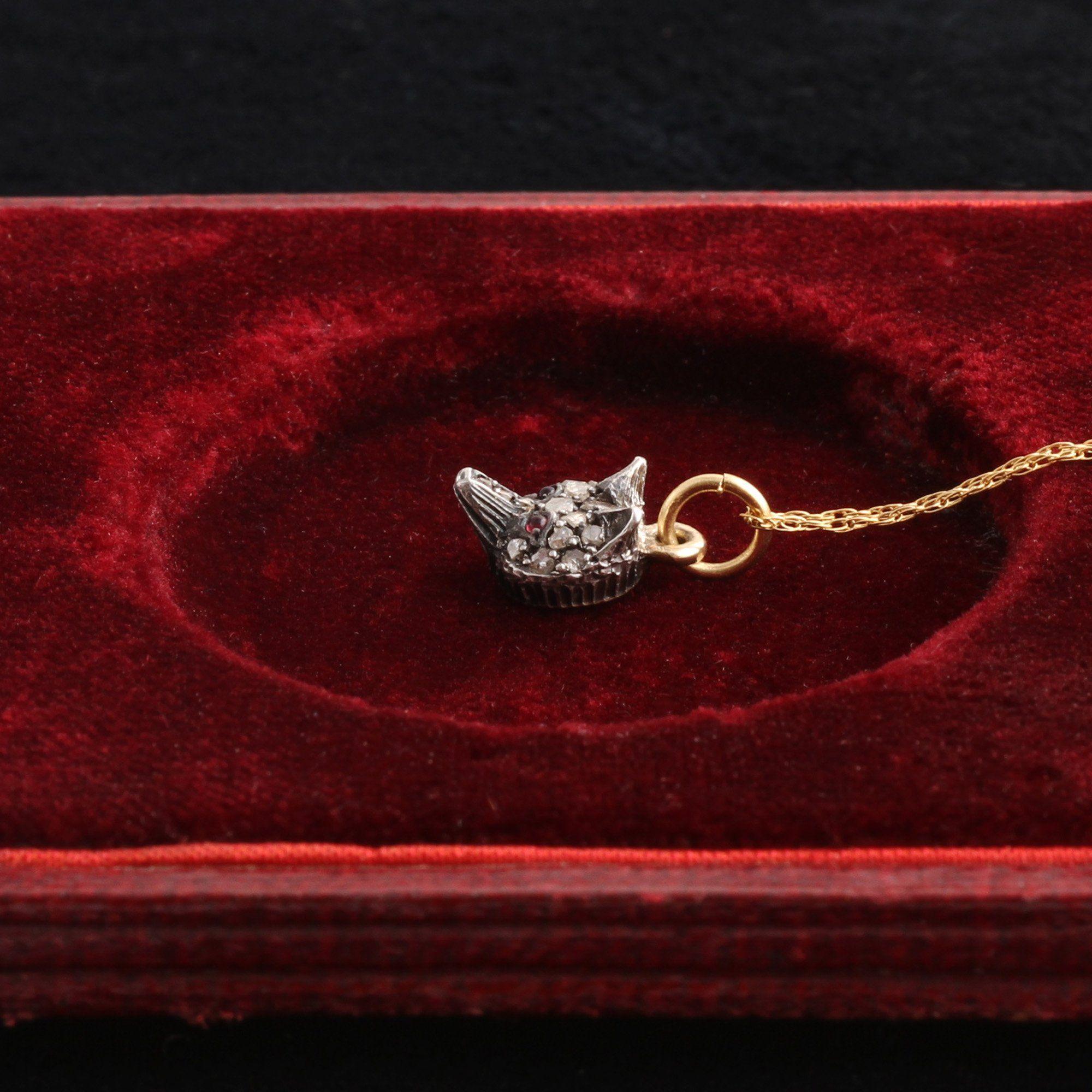 Victorian Garnet & Diamond Fox Head Pendant