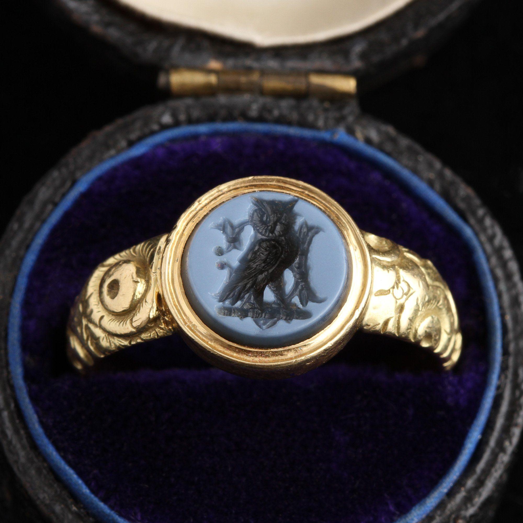 Georgian Nicolo Intaglio Owl Ring
