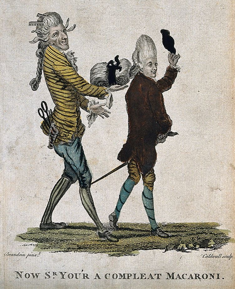 'Now Sr. you'r a compleat Macaroni,' coloured engraving by J. Caldwell after M.V. Brandoin, 1733-1807.