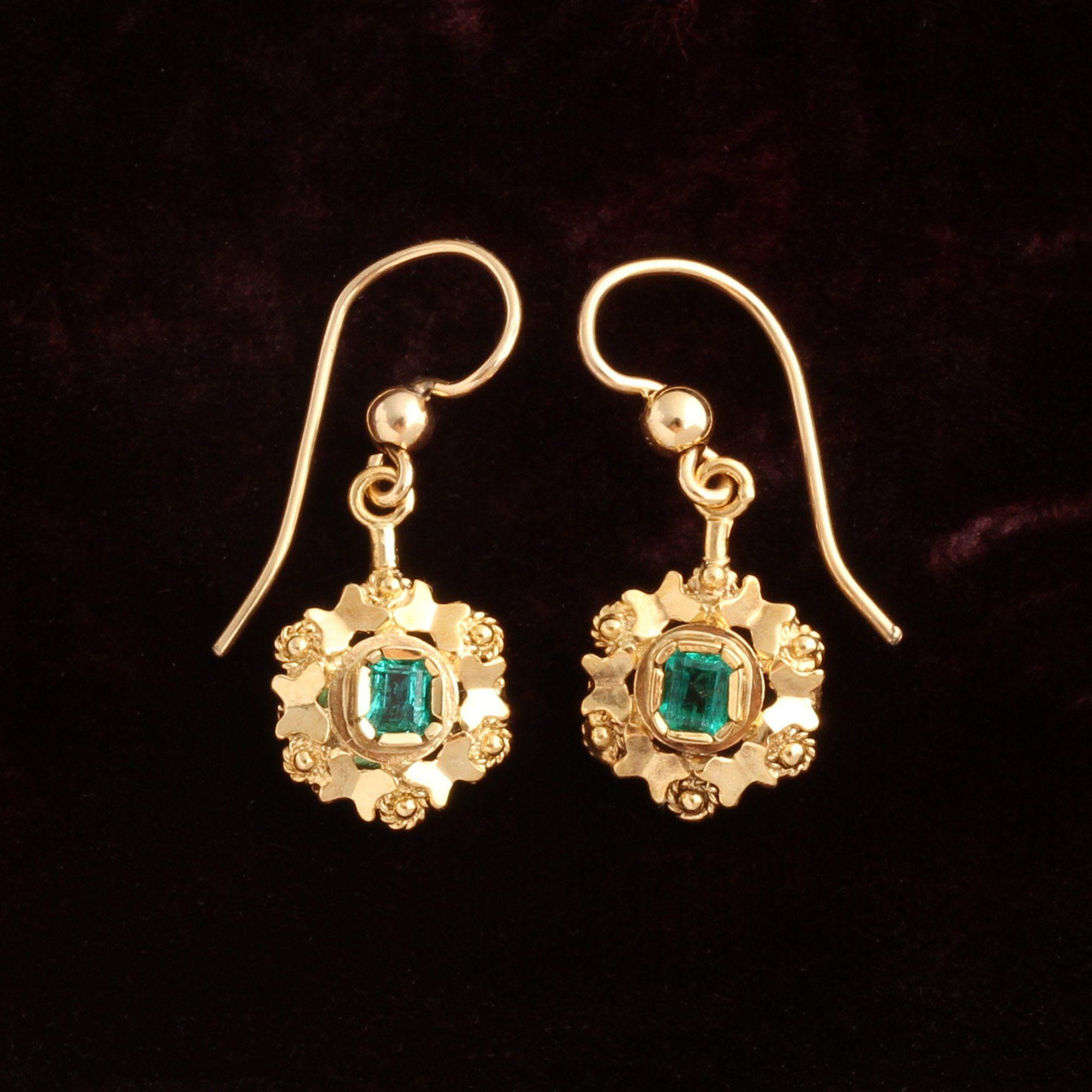 Victorian Emerald & Cannetille Earrings