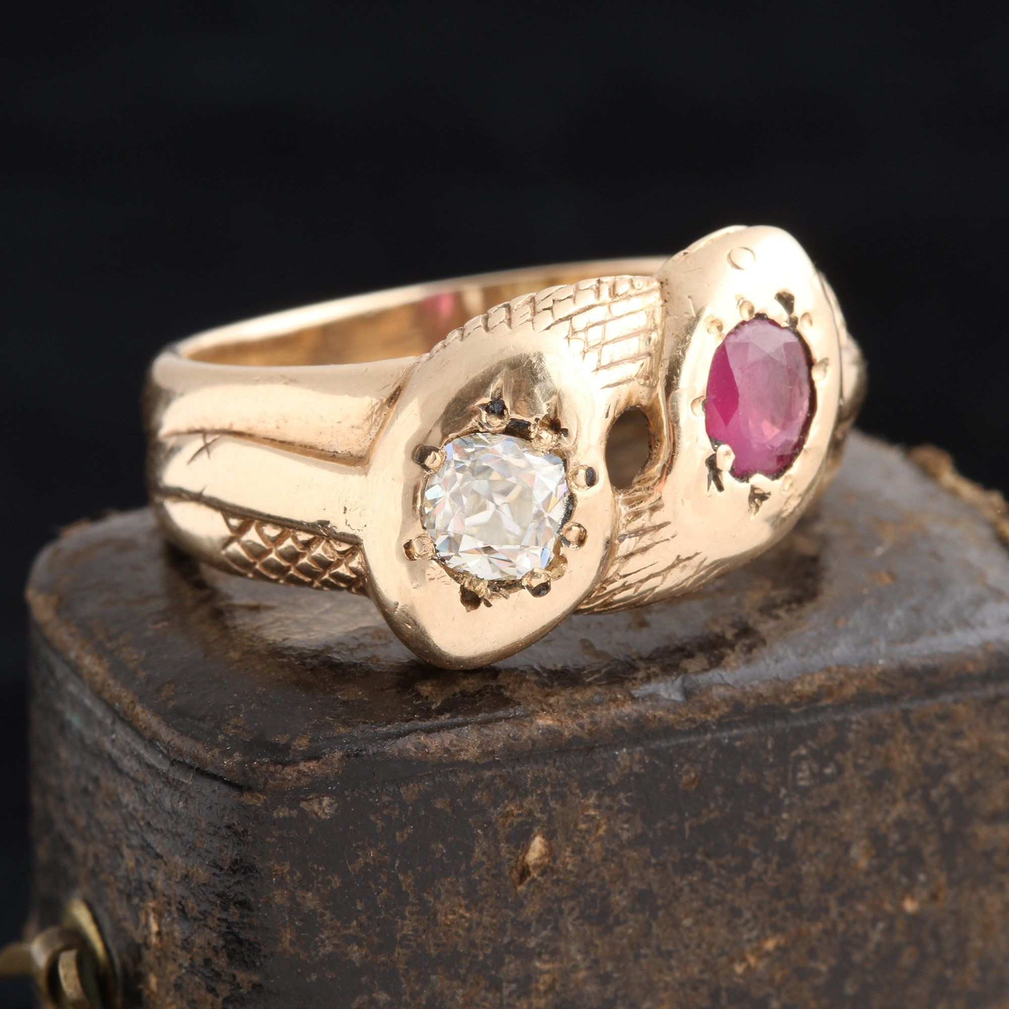 Victorian Diamond & Ruby Twin Snakes Ring